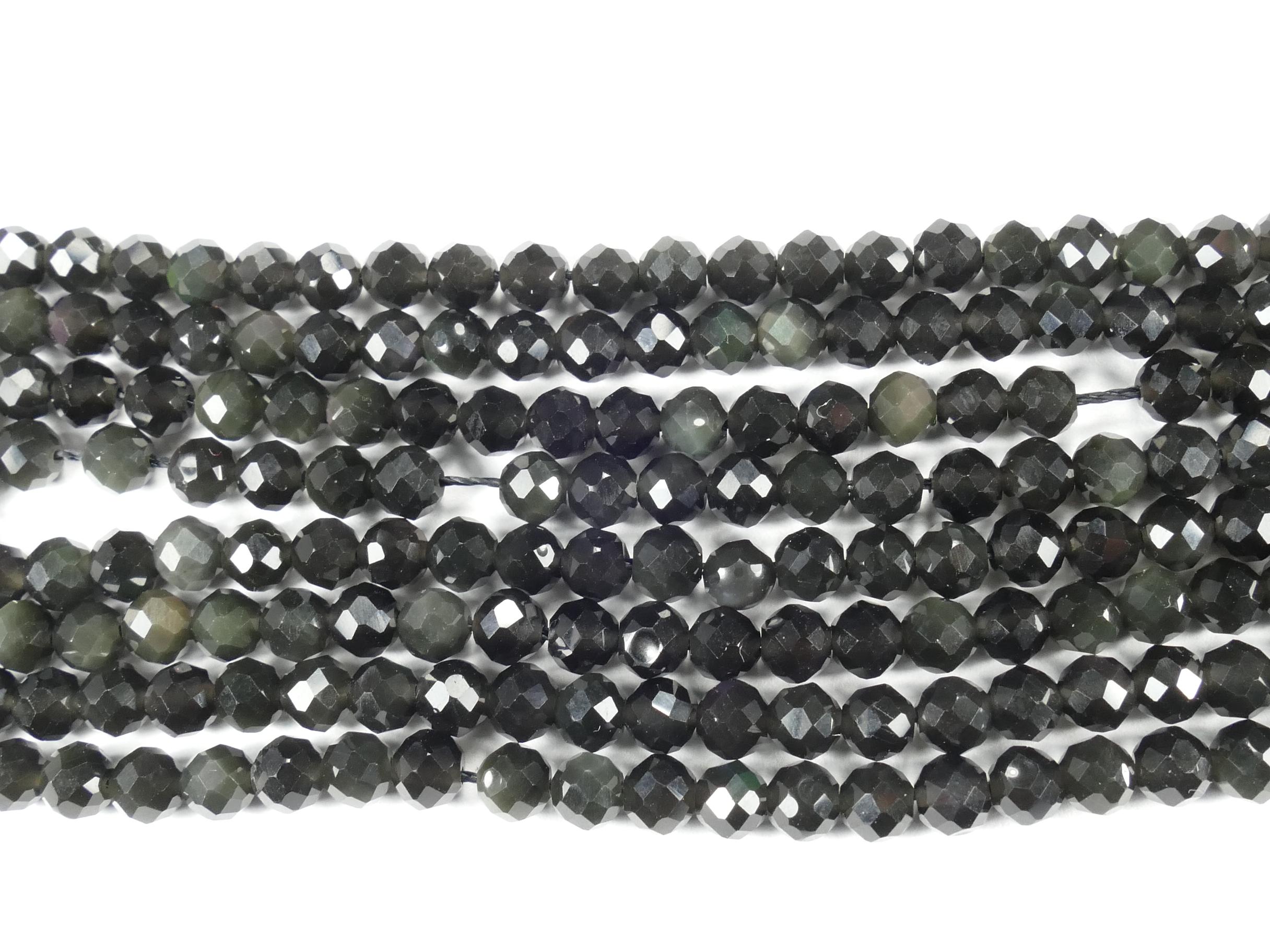4mm Perles d\'Obsidienne arc-en-ciel et doré naturelle en boule facettée du Mexique x38cm (15inch) (#AC771)