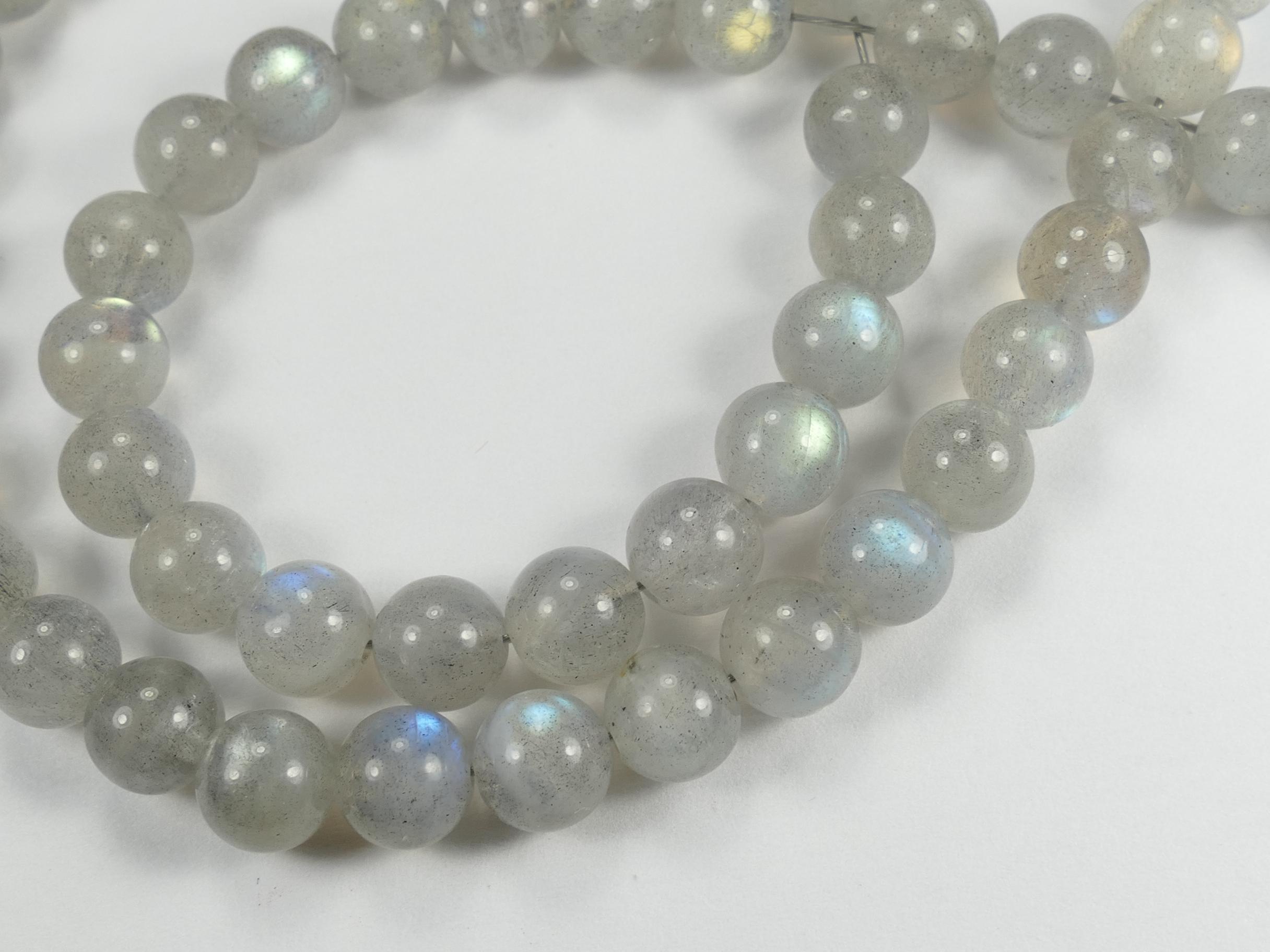 6.3mm A/AA Perle de Labradorite naturelle en boule / ronde lisse x16pc (#AC759)