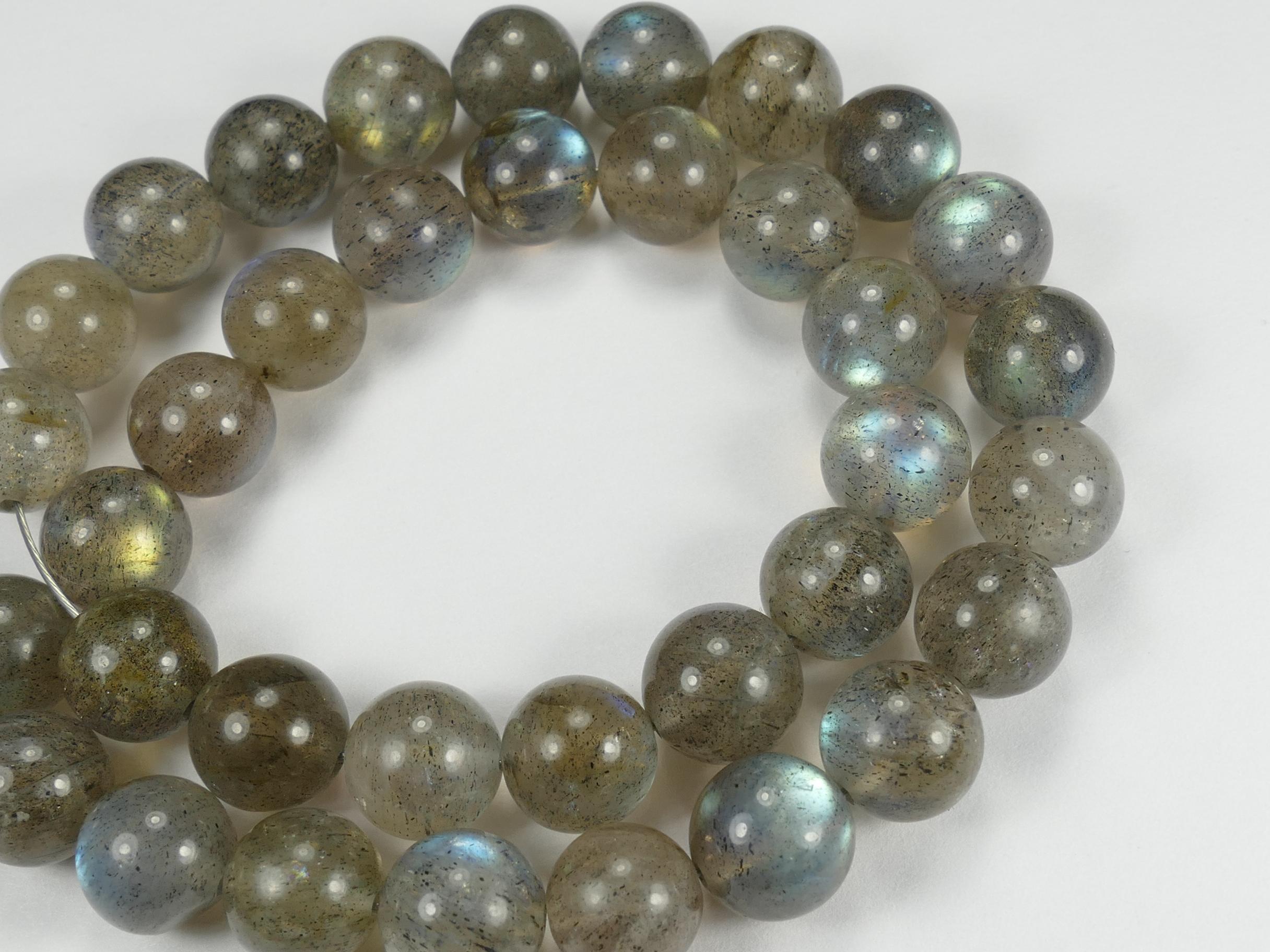 8.4/9.3mm A/AA Perle de Labradorite naturelle en boule / ronde lisse x8pc (#AC760)