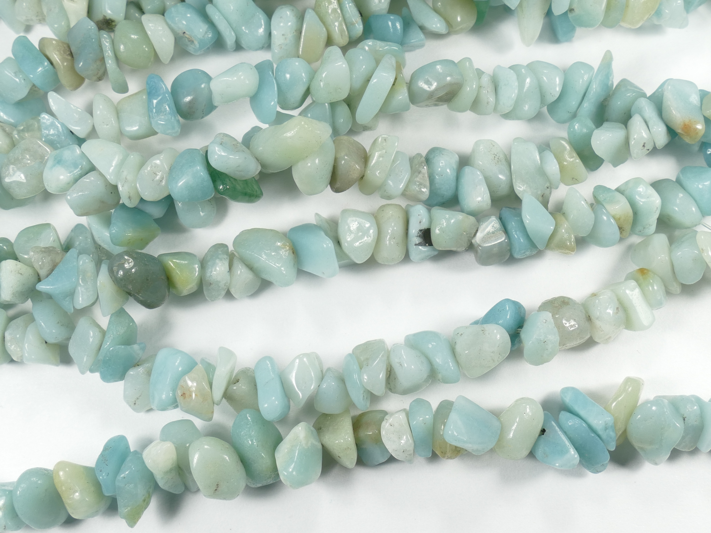 6/9mm x84cm (33inch) Perles d\'Amazonite naturelle roulée chips de Chine (#AC785)