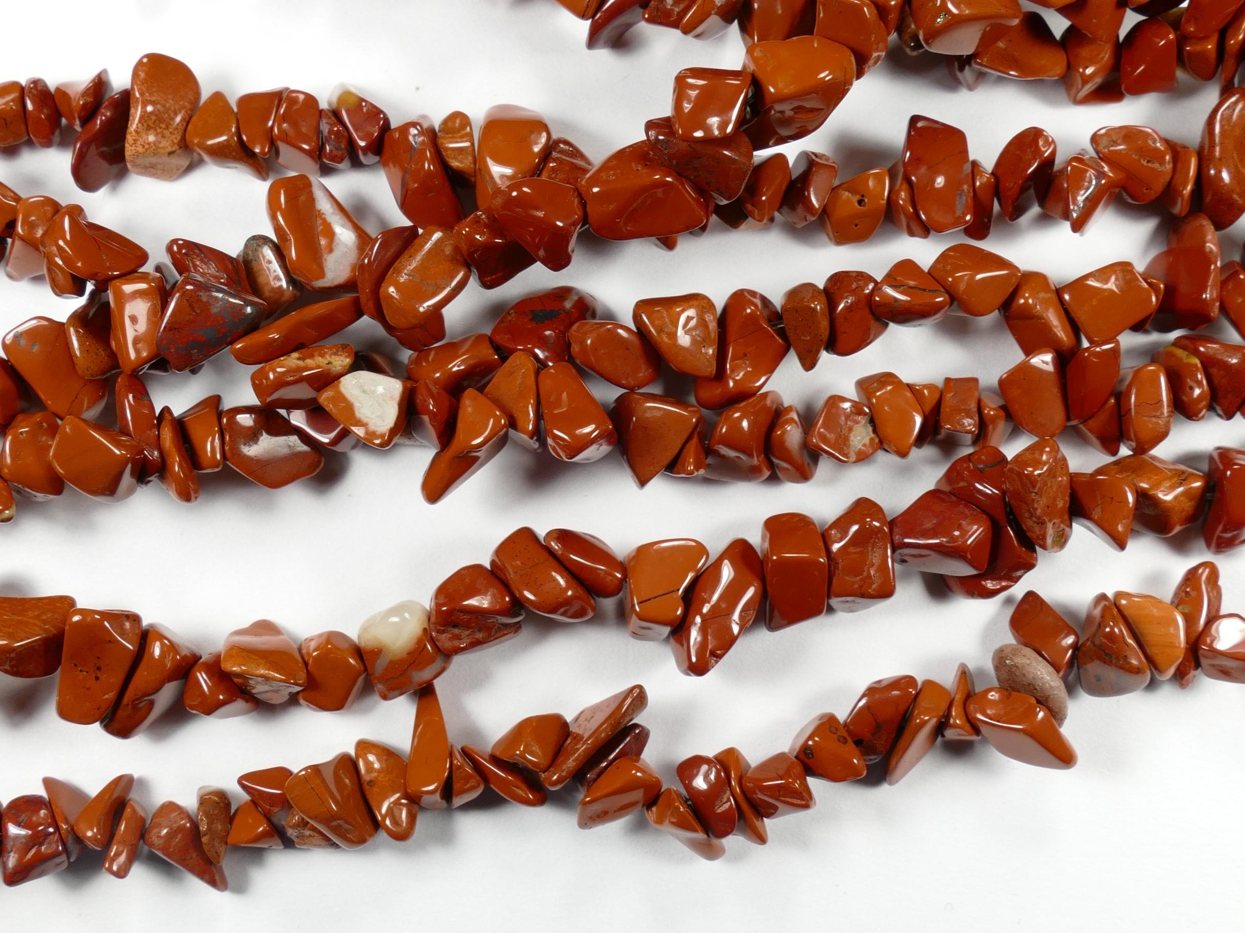 5/9mm Perles de Jaspe rouge ocre naturel roulé d\'Afrique x88cm (34.6inch) (#AC786)