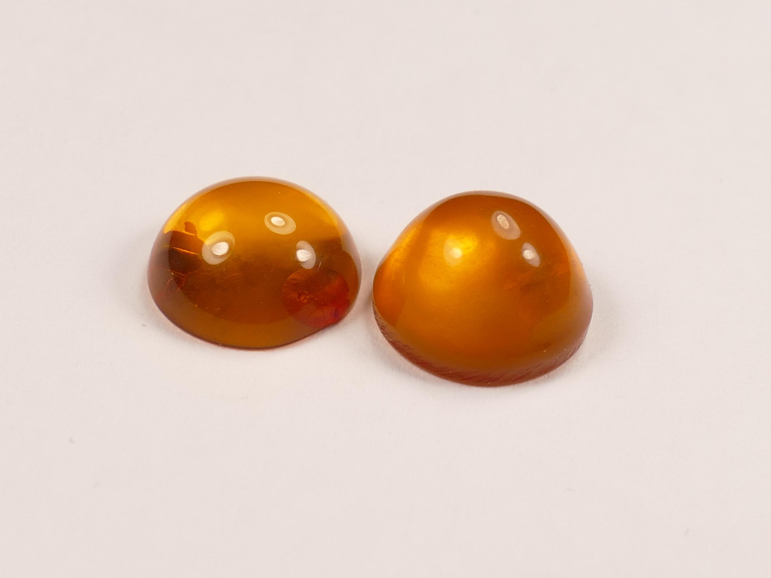 10mm Lot de 2 Ambre naturel natif de la Mer Baltique en cabochon rond orange miel UV (#PK89)