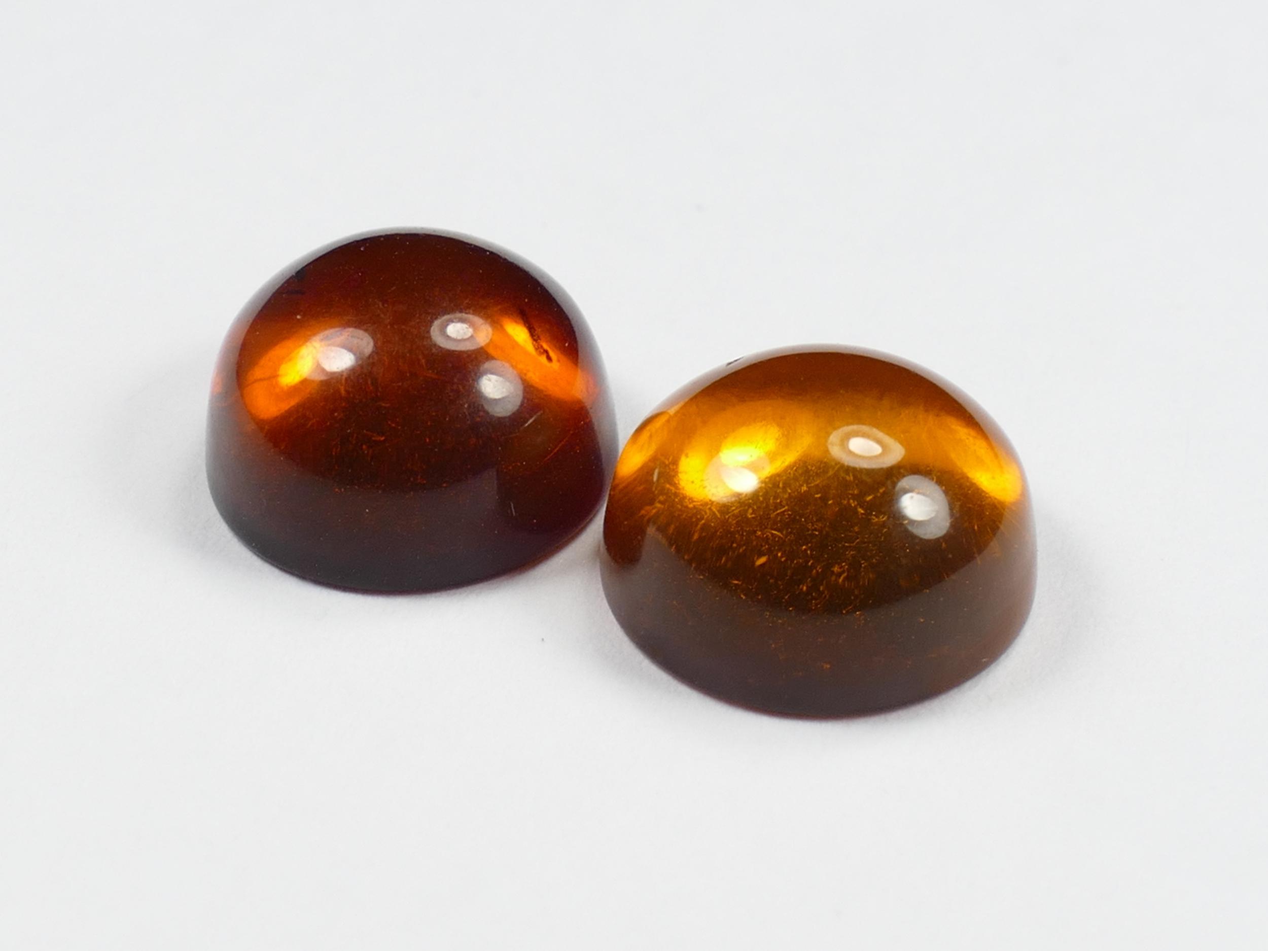 10.4mm Lot de 2 Ambre naturel natif de la Mer Baltique en cabochon rond orange rouge miel UV (#PK92)