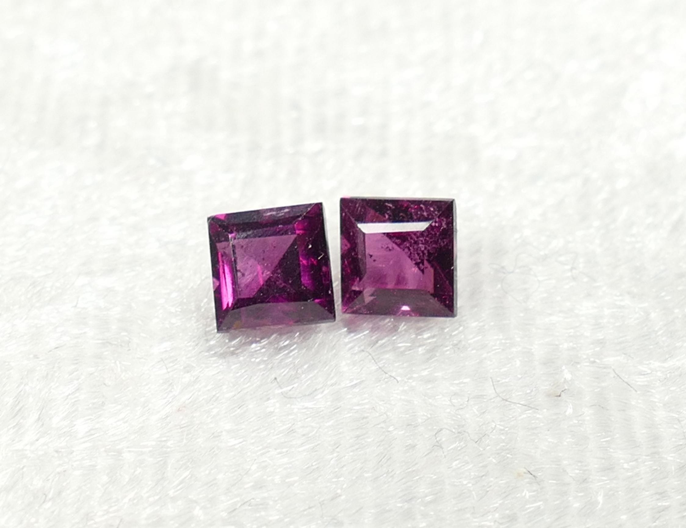 4mm Lot de 2 Grenat violet Rhodolite facettée carré 1.07ct du Brésil (#PF300)