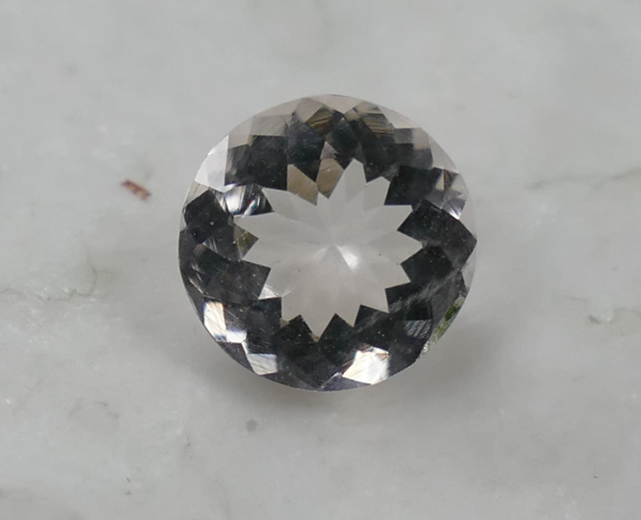 7mm Superbe Morganite Béryl rose léger taille brillant rond spéciale 0.99ct Madagascar (#PB324)
