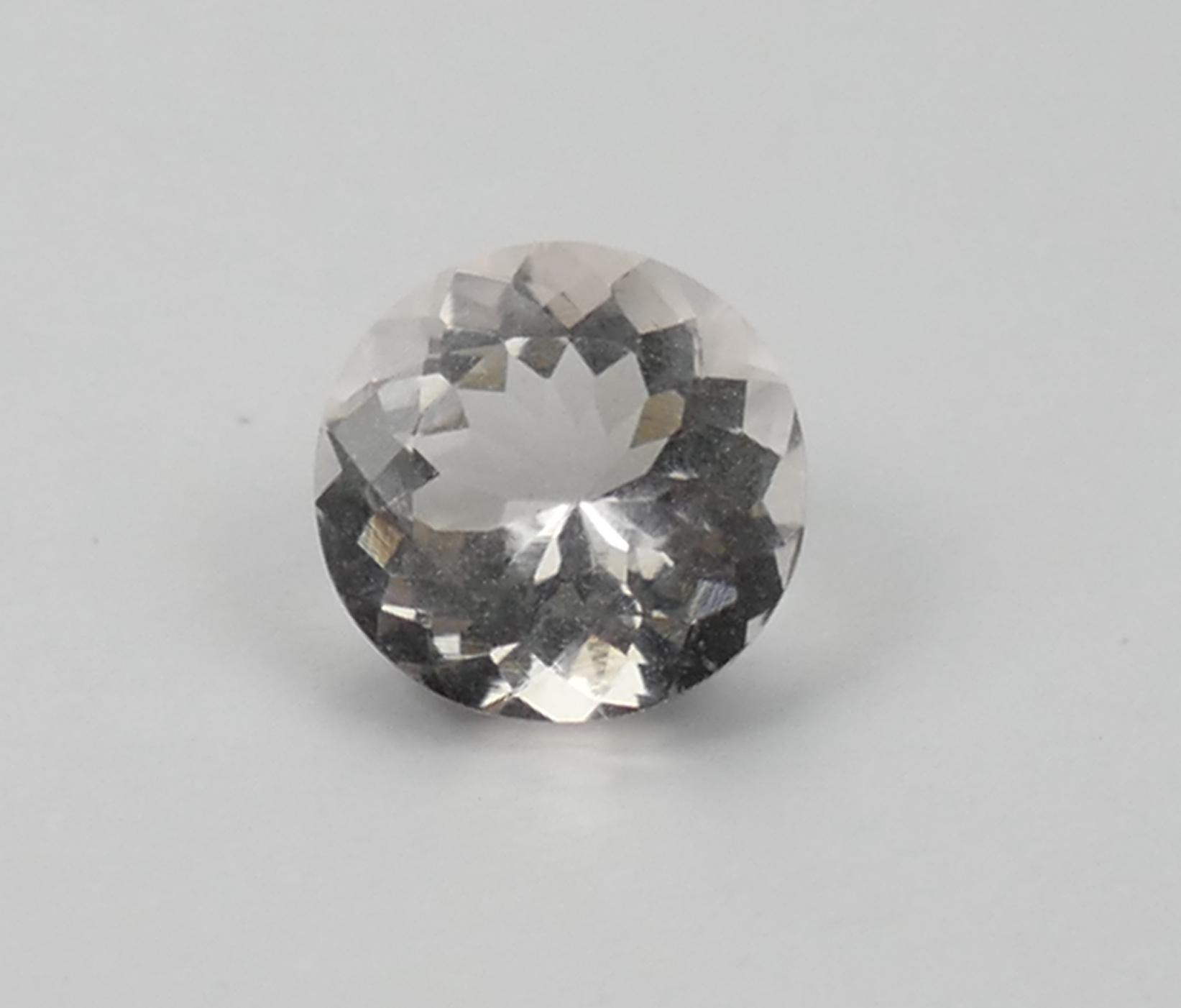 7.2mm Superbe Morganite Béryl rose léger taille brillant rond spéciale 1.16ct Madagascar (#PB328)