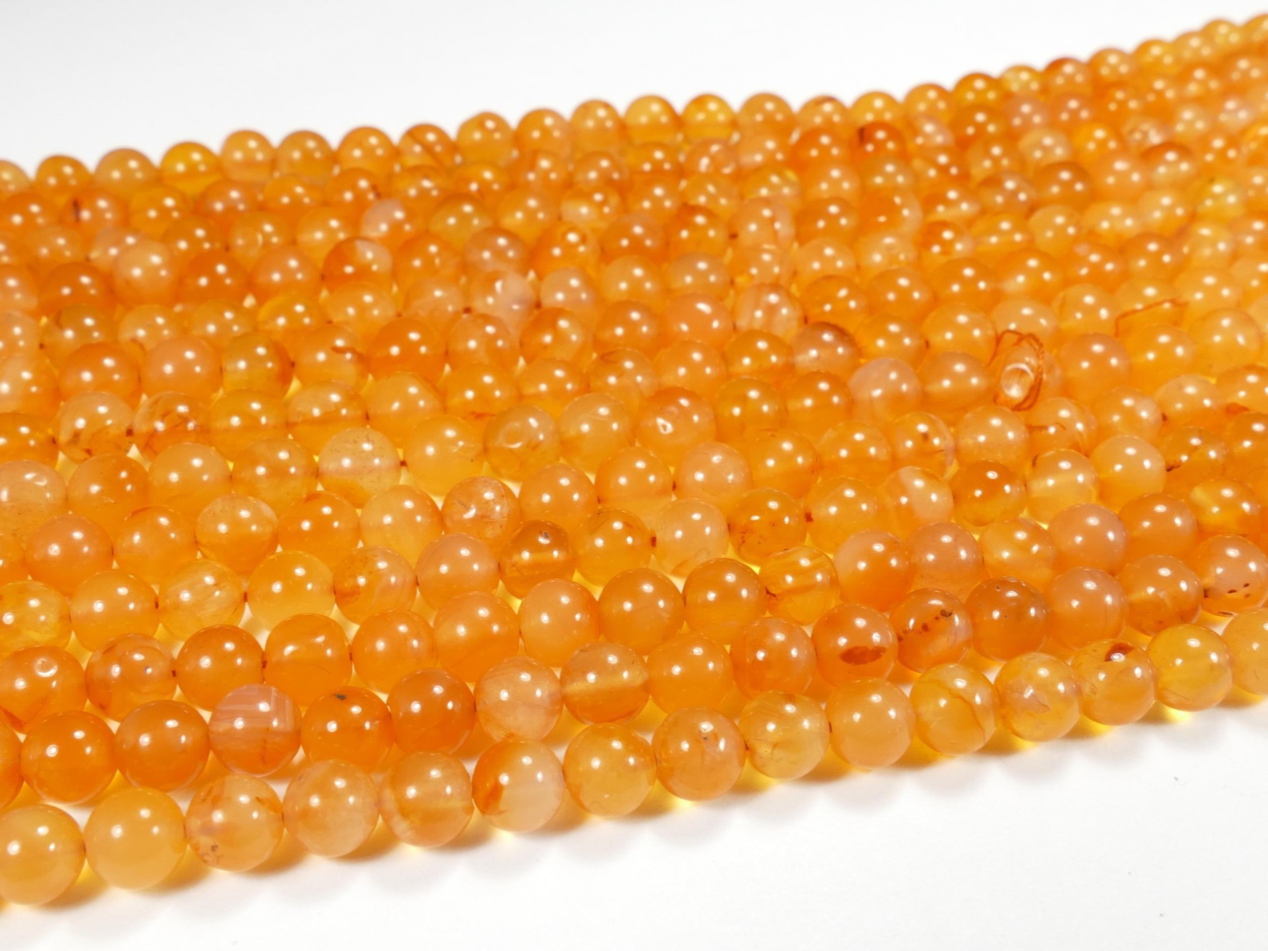 5.2/6.2 ou 6.3/6.8mm Perle de Cornaline (Agate) naturelle boule / rond irrégulier x35/36cm (13.8inch) (#AC880)