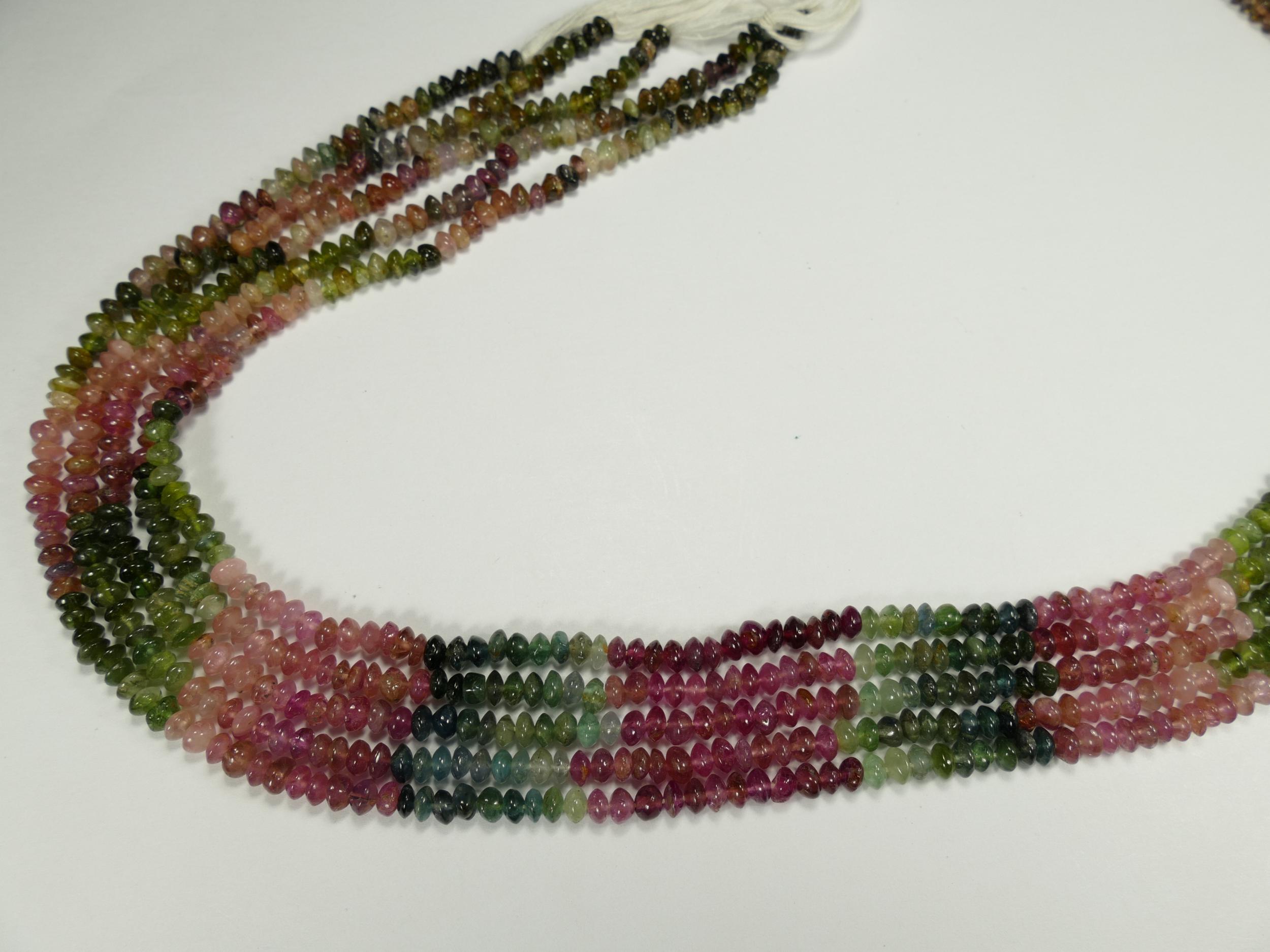 3.7/4mm Fil de perles de Tourmaline naturelle multicolore en rondelle lisse 37cm (14.5inch) (#AC864)