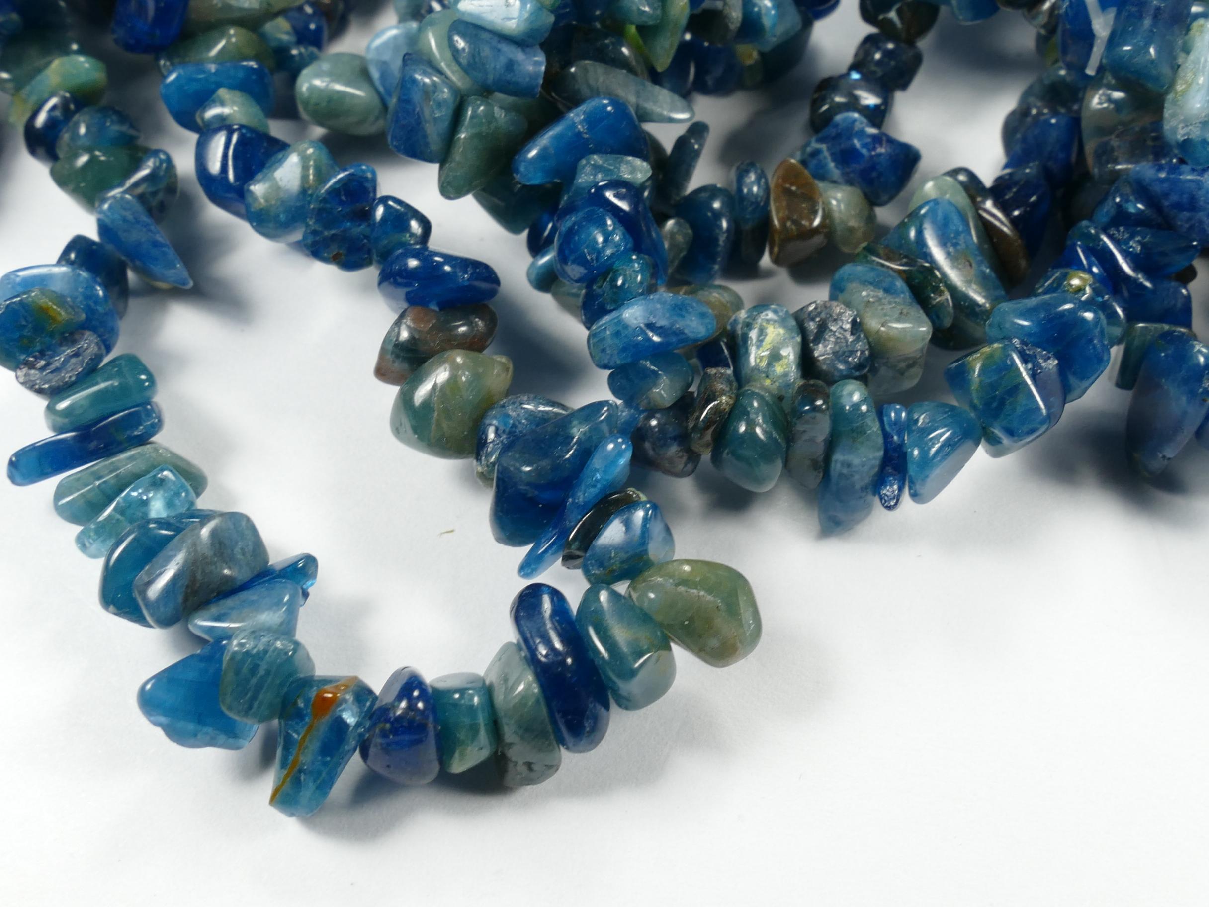 4/10mm Perles d\'Apatite bleu nuit naturelle roulée x40cm (15.7inch) (#AC799)