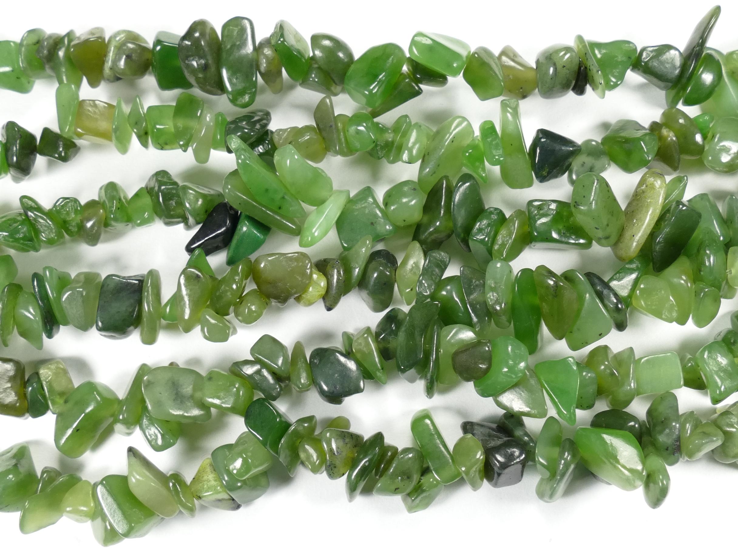 6/13mm Perles de Jade Néphrite naturel roulée chips vert kaki x58cm (22.8inch) (#AC792)