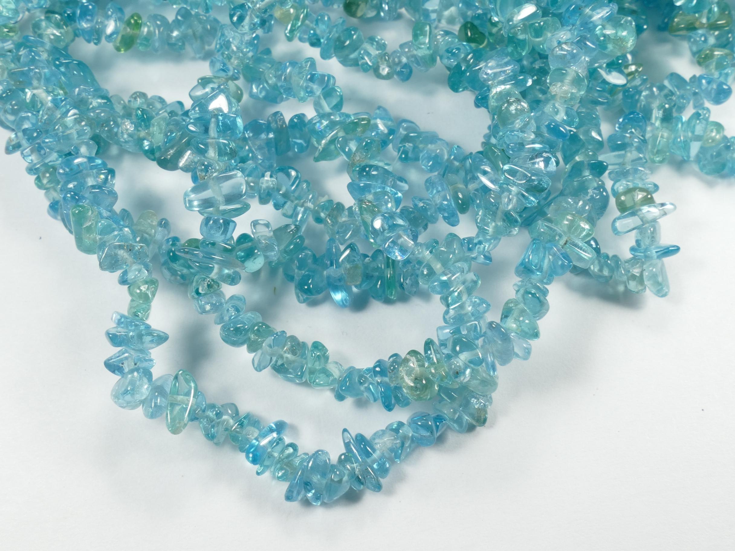 4/7mm Perles d\'Apatite bleu ciel intense naturelle roulée de Madagascar x20cm (7.8inch) (#AC795)
