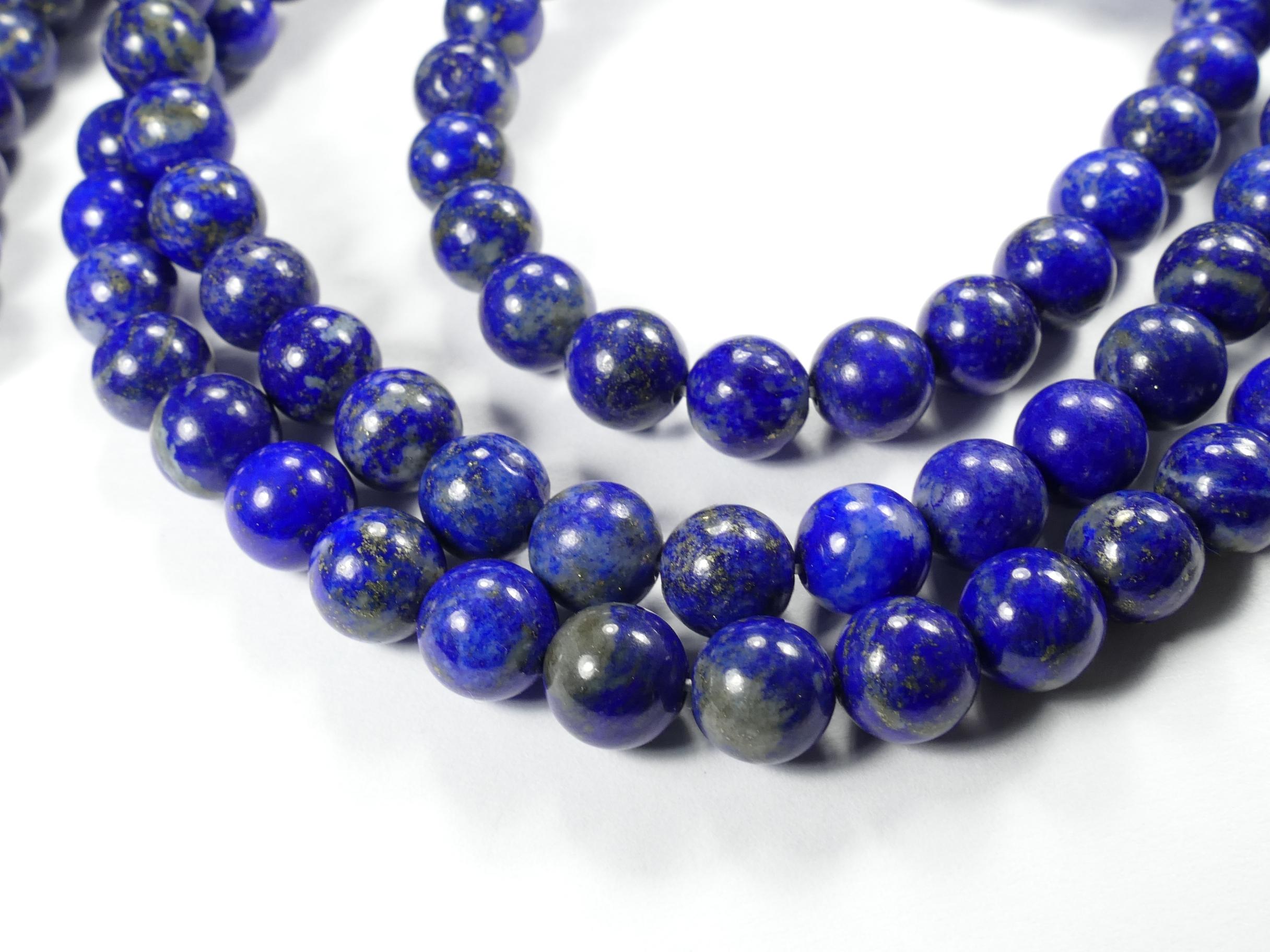 B/A 8.7mm x10 Perles Lapis lazuli entièrement naturel en boule ronde lisse d\'Afghanistan (#AC764)