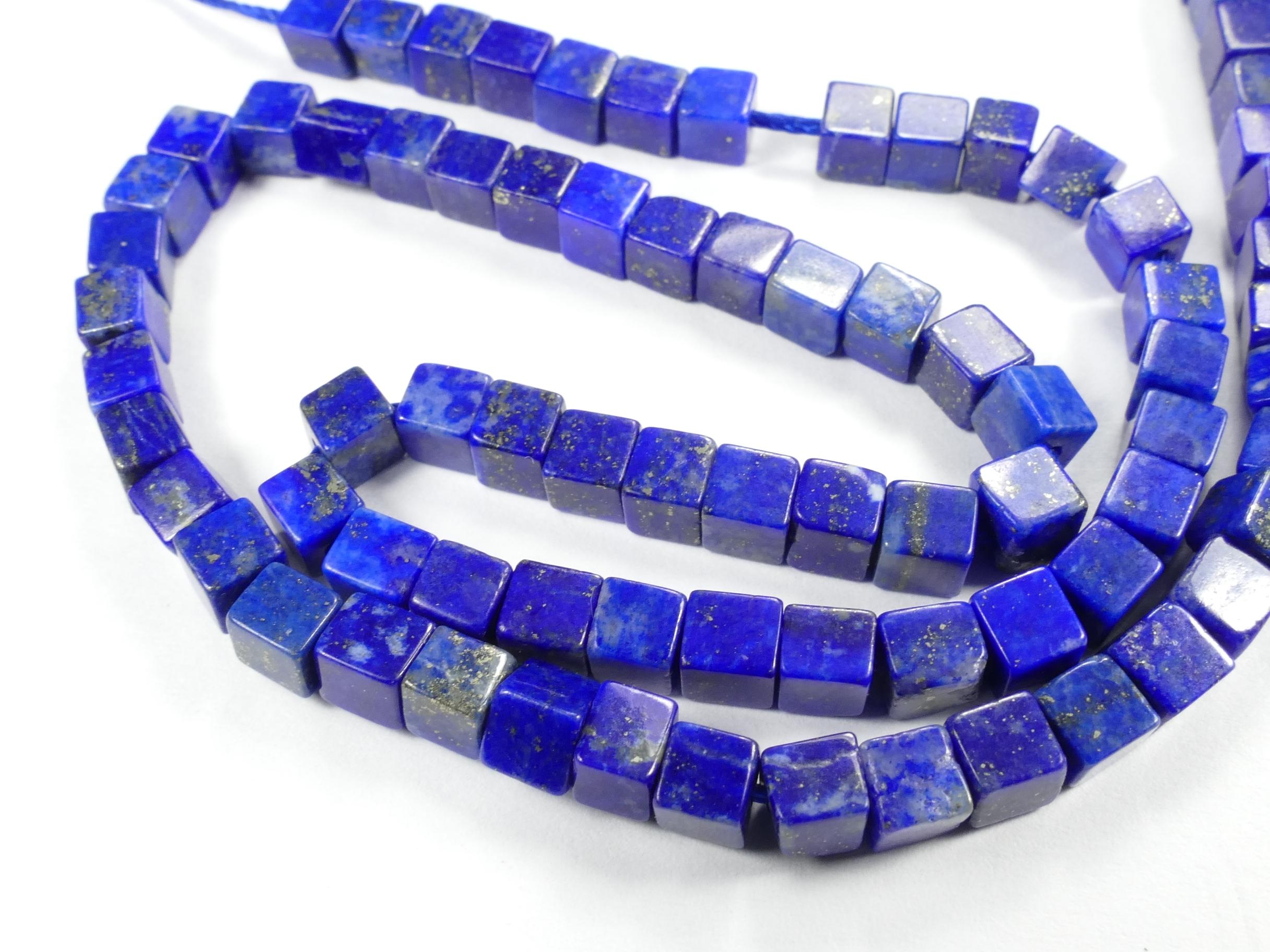 4.2mm x20 Perles Lapis lazuli entièrement naturel en cube Afghanistan (#AC775)