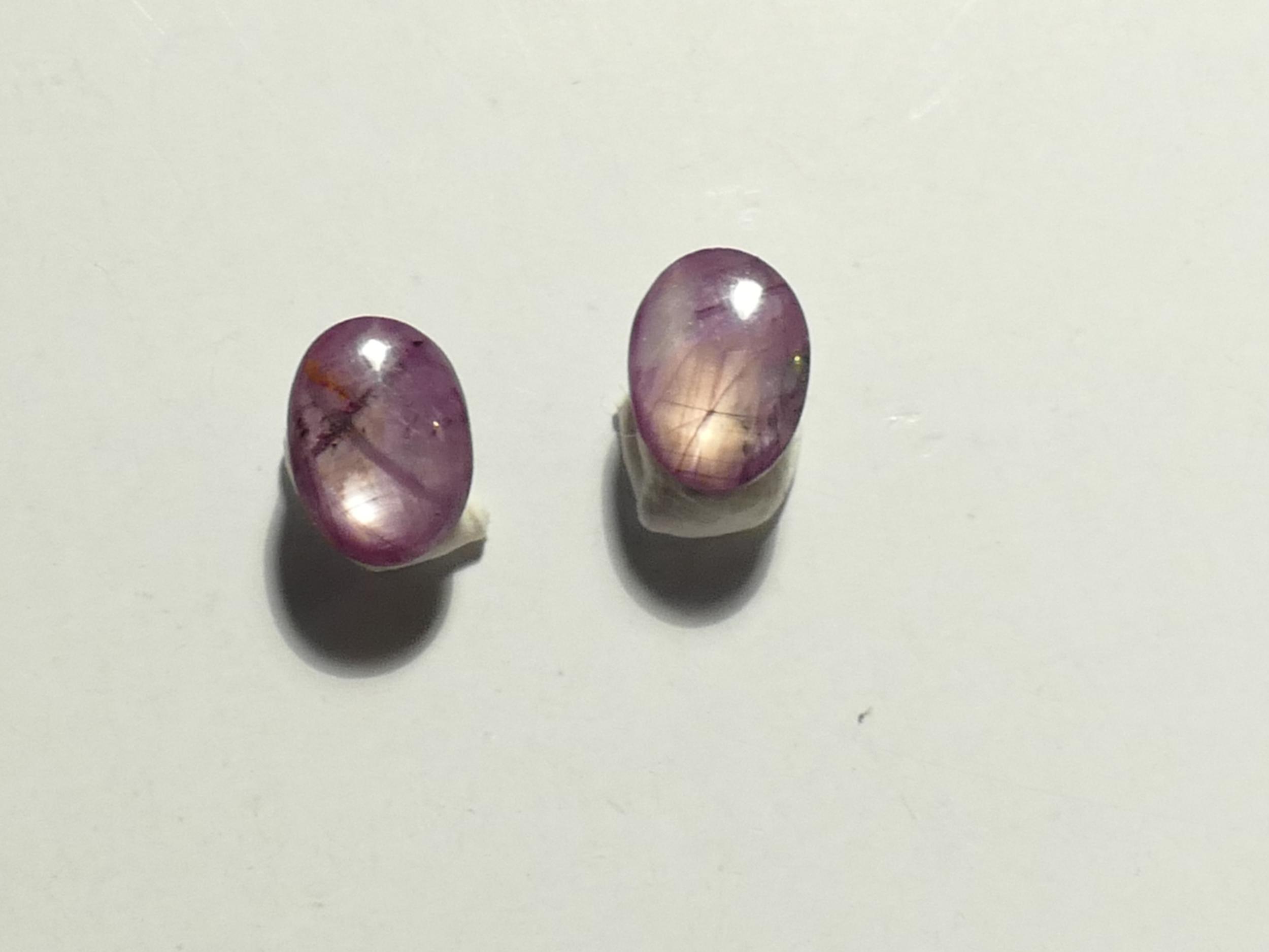 Lot de 2 Rubis naturel étoilé en cabochon ovale 1.05ct d\'Inde paire (#PF27)