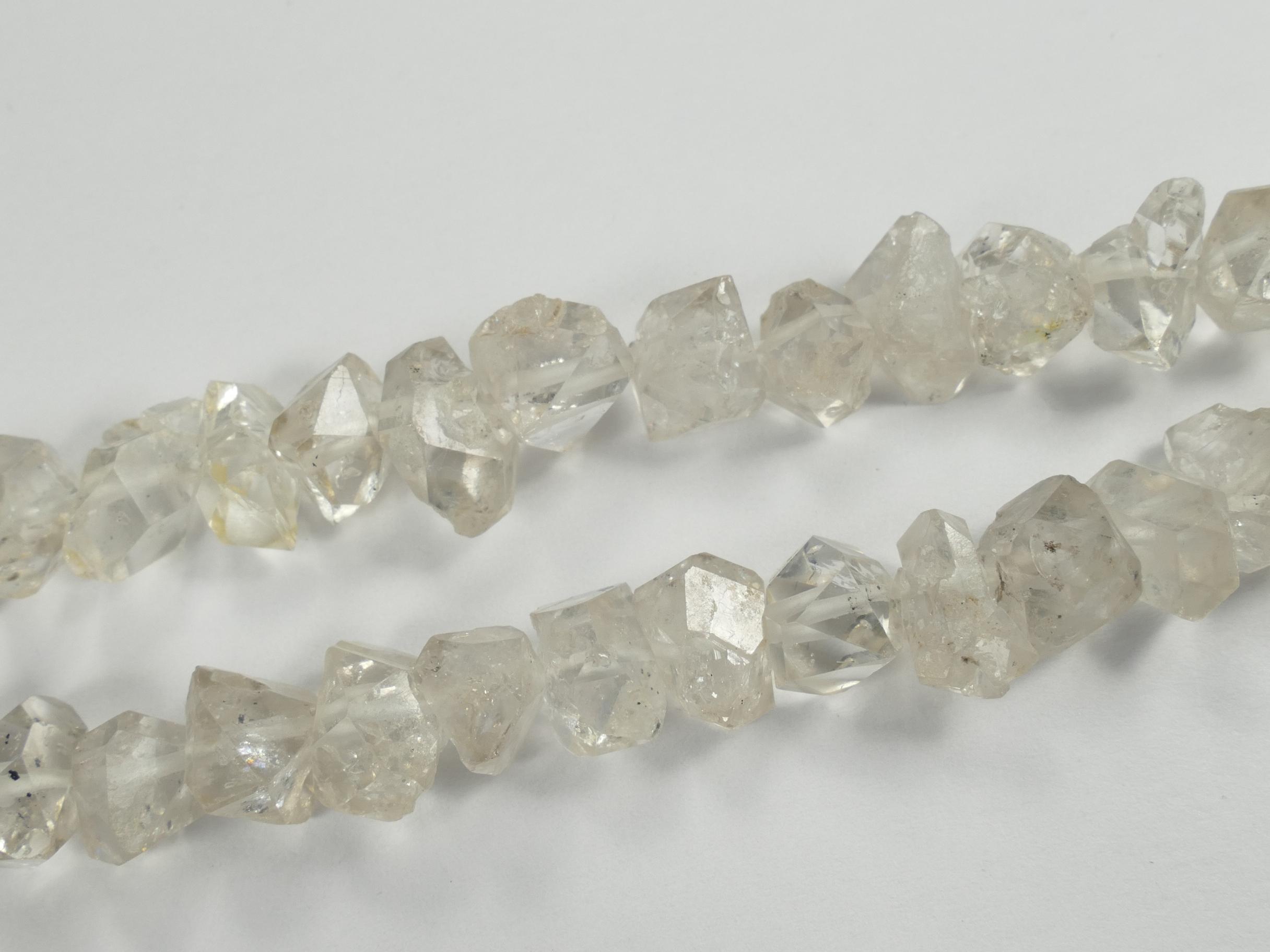 7/9 ou 10/11.5mm x10 Perles de Quartz diamant bi terminé cristal de roche percé brut (#AC769)