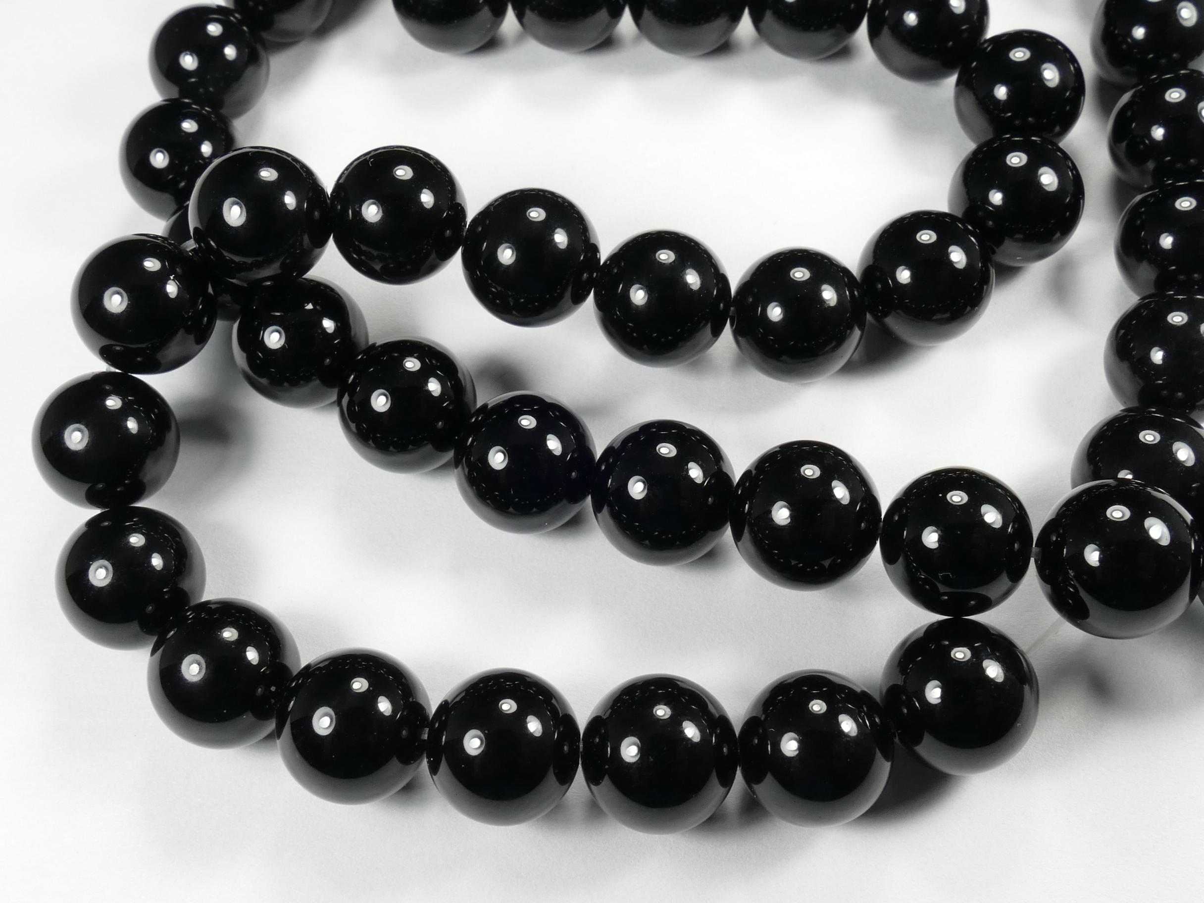 10.5mm x18 Perles d\'Onyx (Agate) naturel boule / ronde noir (#AC773)