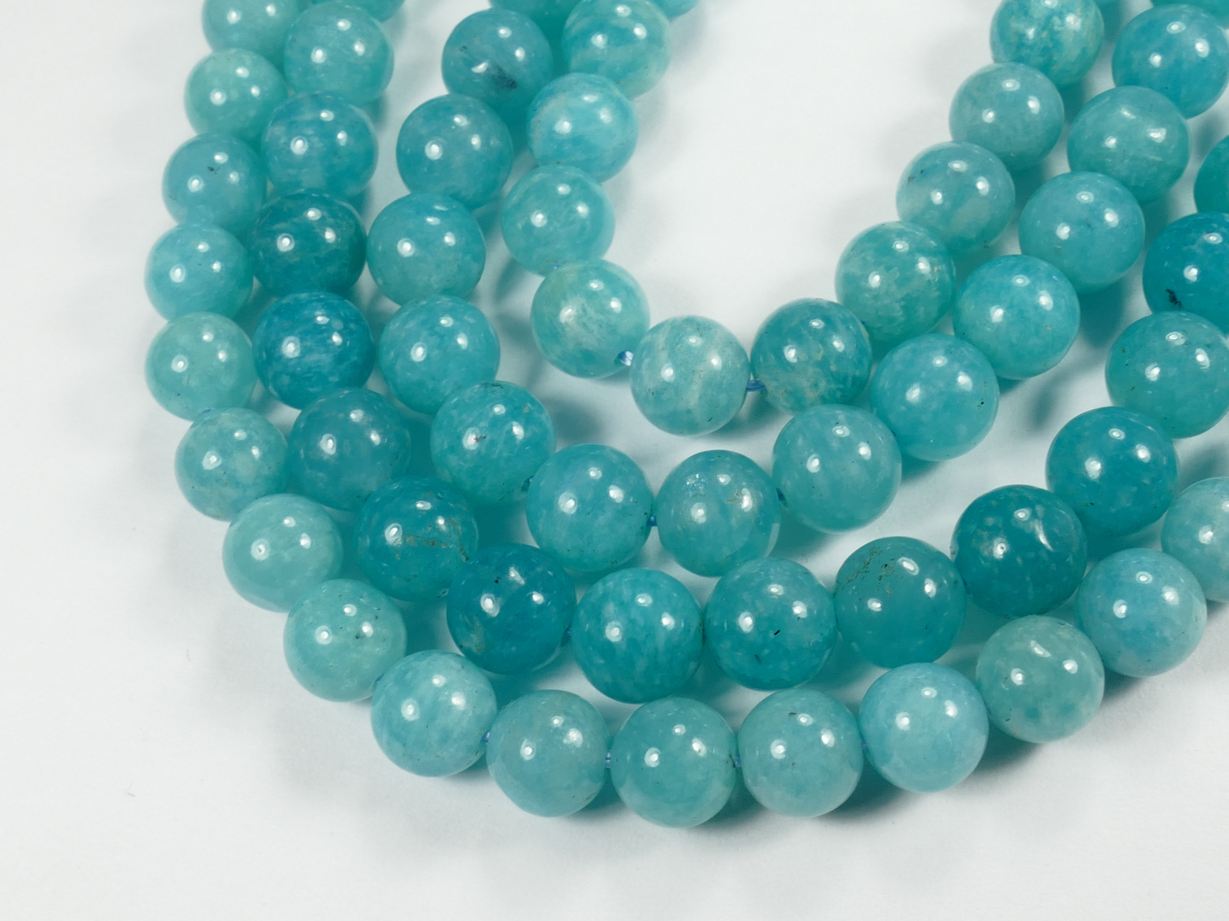 6.5/7.2mm x13 Perles d\'Amazonite naturelle bleu intense en boule / ronde Brésil (#AC772)