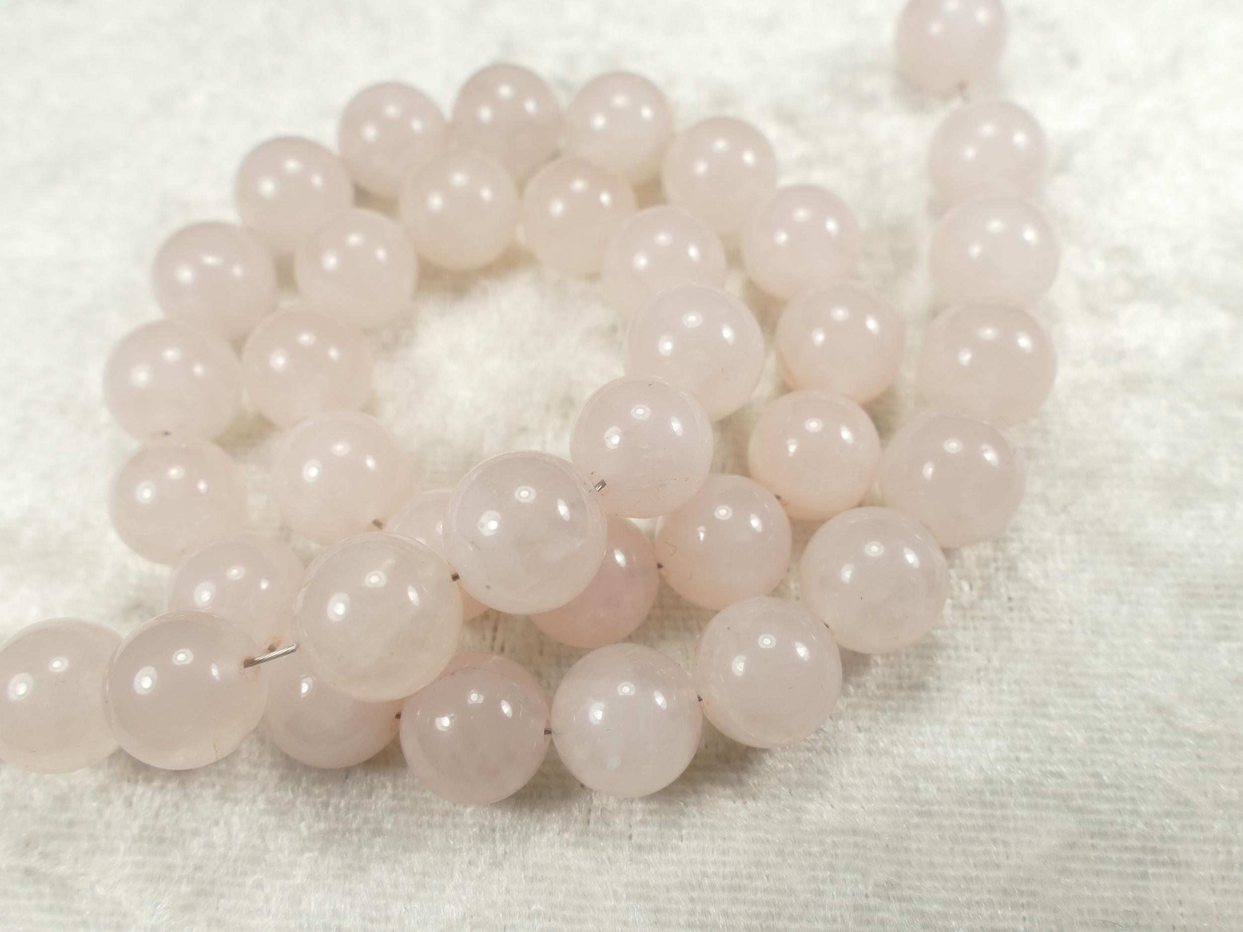9.7/10.3mm x16 Perles de Quartz rose naturelle boule / ronde lisse (#AC643)
