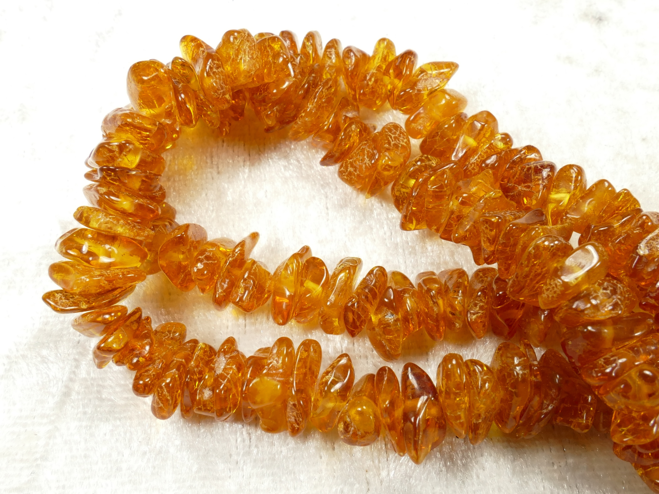6/11mm Perles d\'Ambre naturel natif de la Mer Baltique roulé x40cm (15.7inch) orangé miel (#AC302)