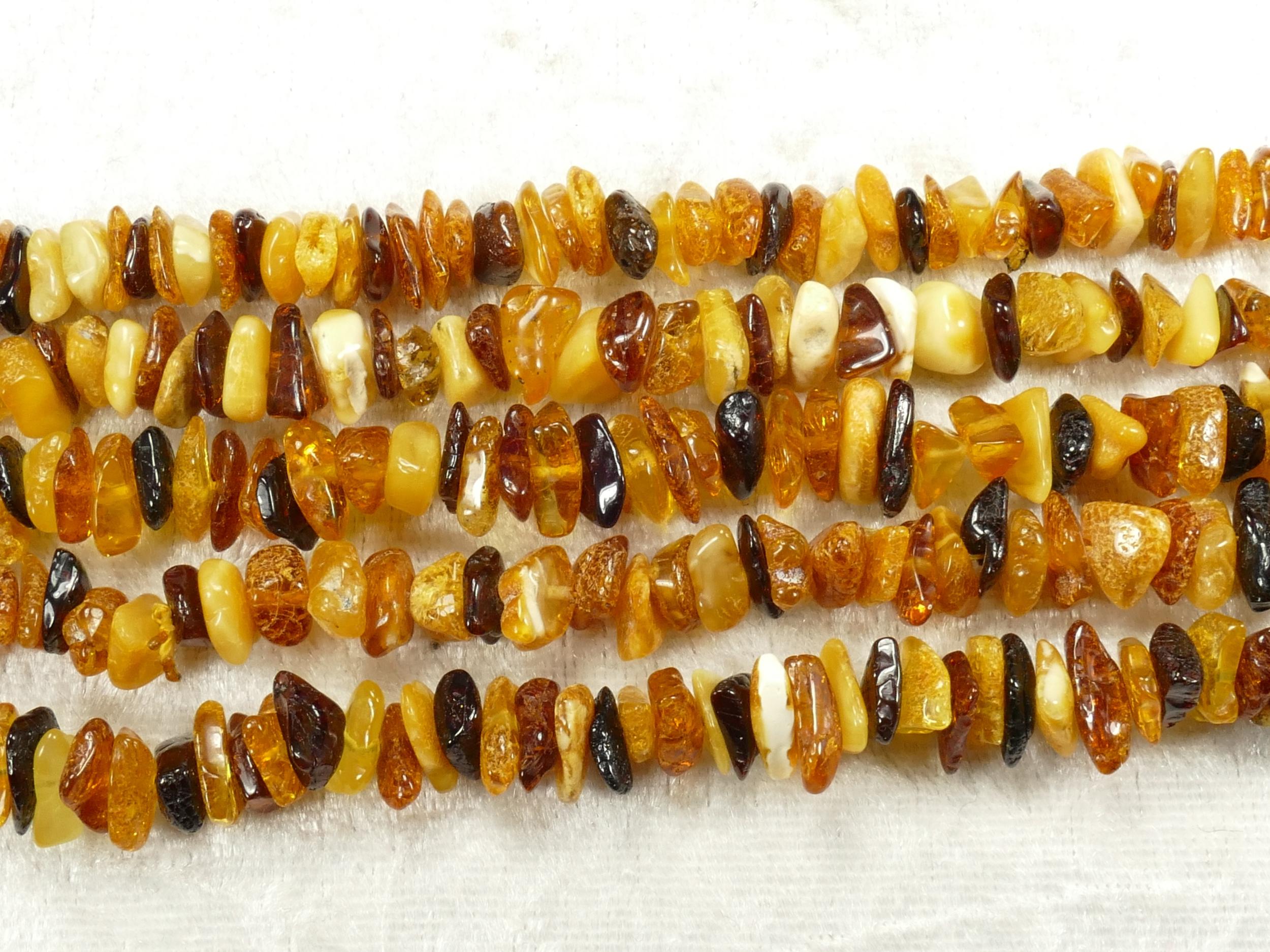 7/10mm Perles d\'Ambre naturel natif de la Mer Baltique roulé x40cm (15.7inch) mélange couleur (#AC633F)