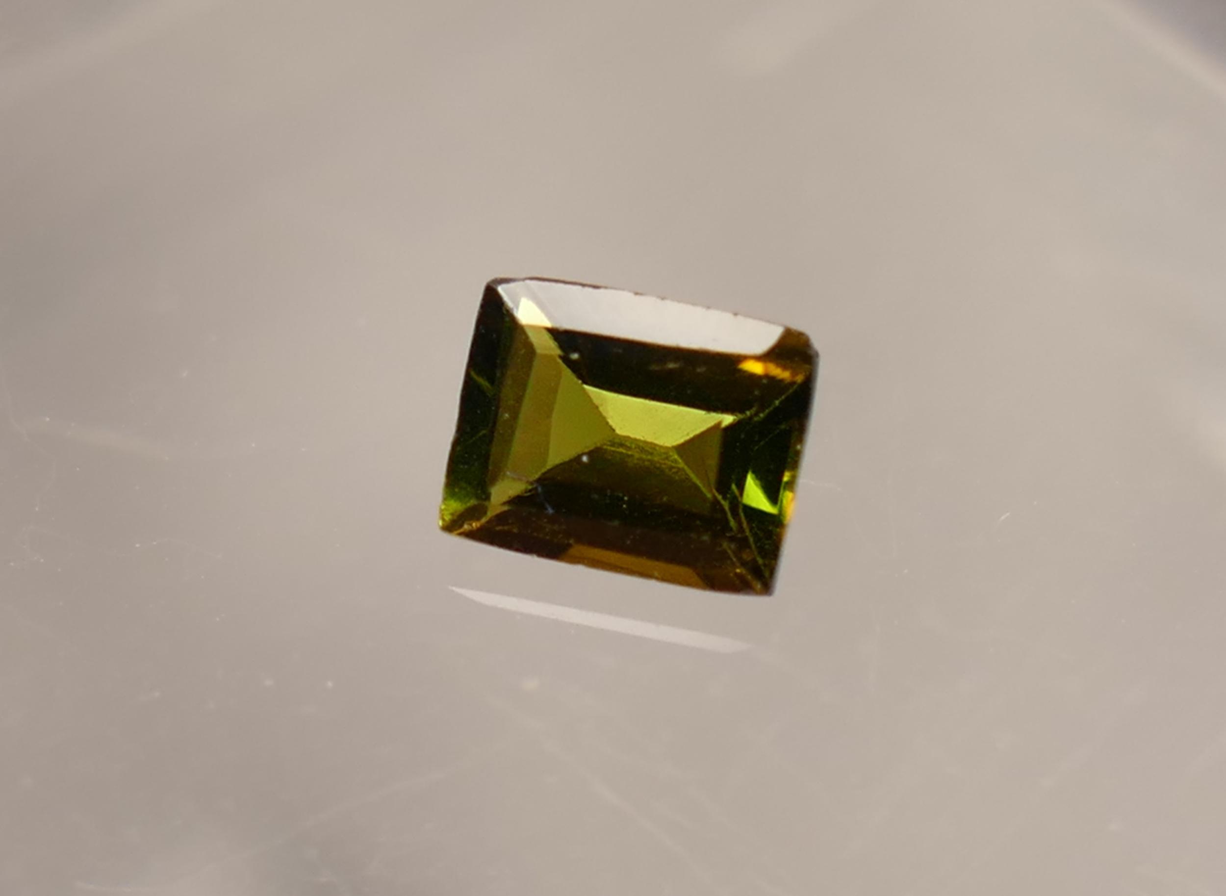 5x3.8mm Tourmaline naturelle verte brune Verdelite 0.44ct facettée en baguette du Brésil (#PB268)