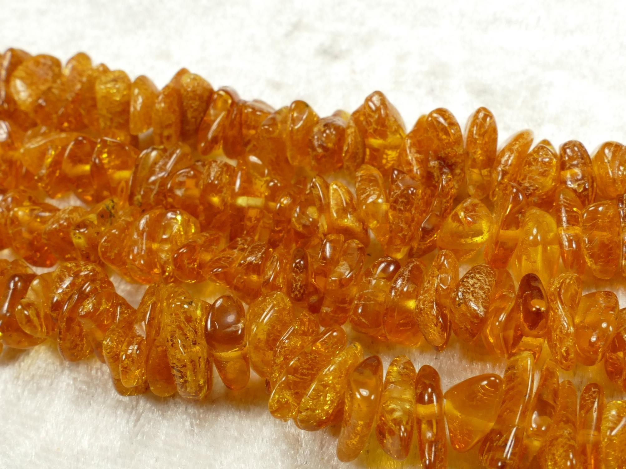 7/10mm Perles d\'Ambre naturel natif de la Mer Baltique brut/roulé x40cm (15.7inch) orange cognac clair (#AC633D)