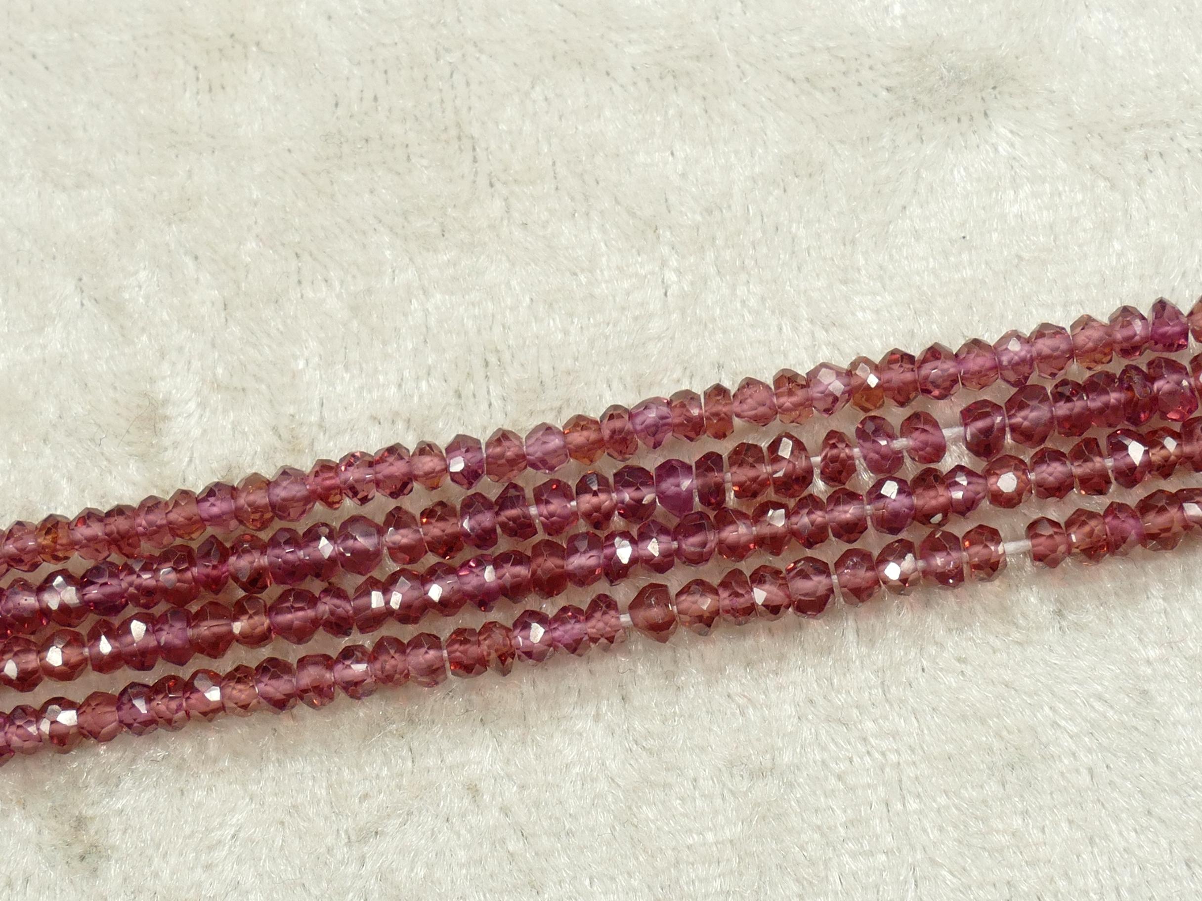 3mm Perles de grenat Rhodolite violet AA/AAA en rondelle facettée x17cm (6.7inch) (#AC832)