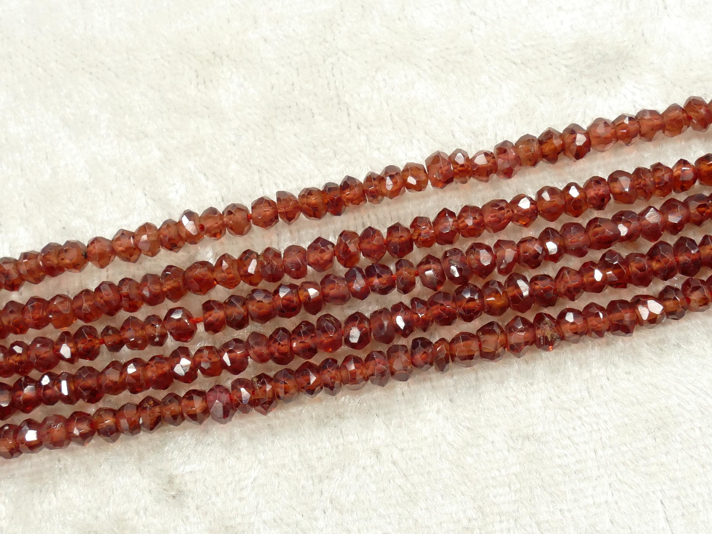 3.6/4.2mm Perles de Grenat rouge naturel A/AAA en rondelle facettée x16cm (6.3inch) (#AC836)