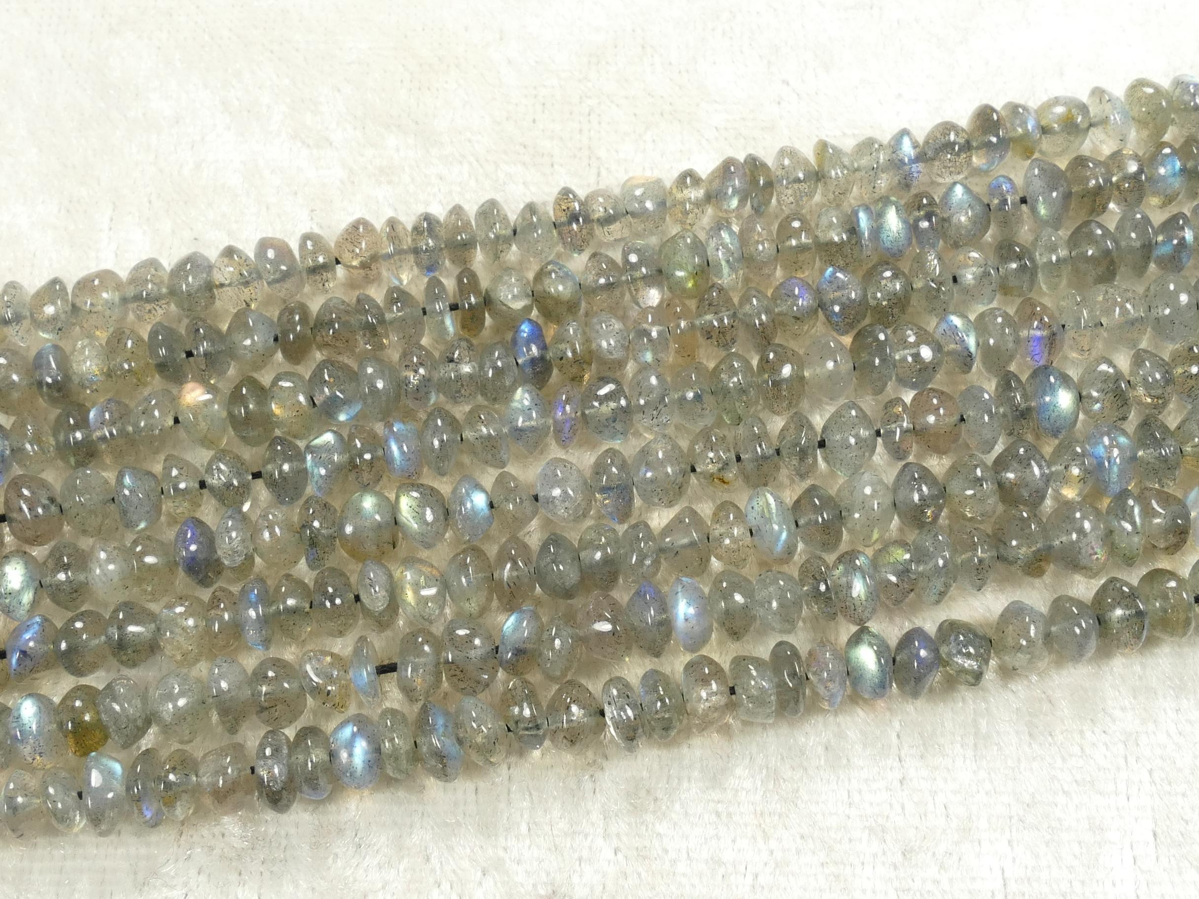 4.6/5.5mm Fil de jolies perles de Labradorite naturelle en rondelle irrégulière lisse x35cm (13.7inch) (#AC854)