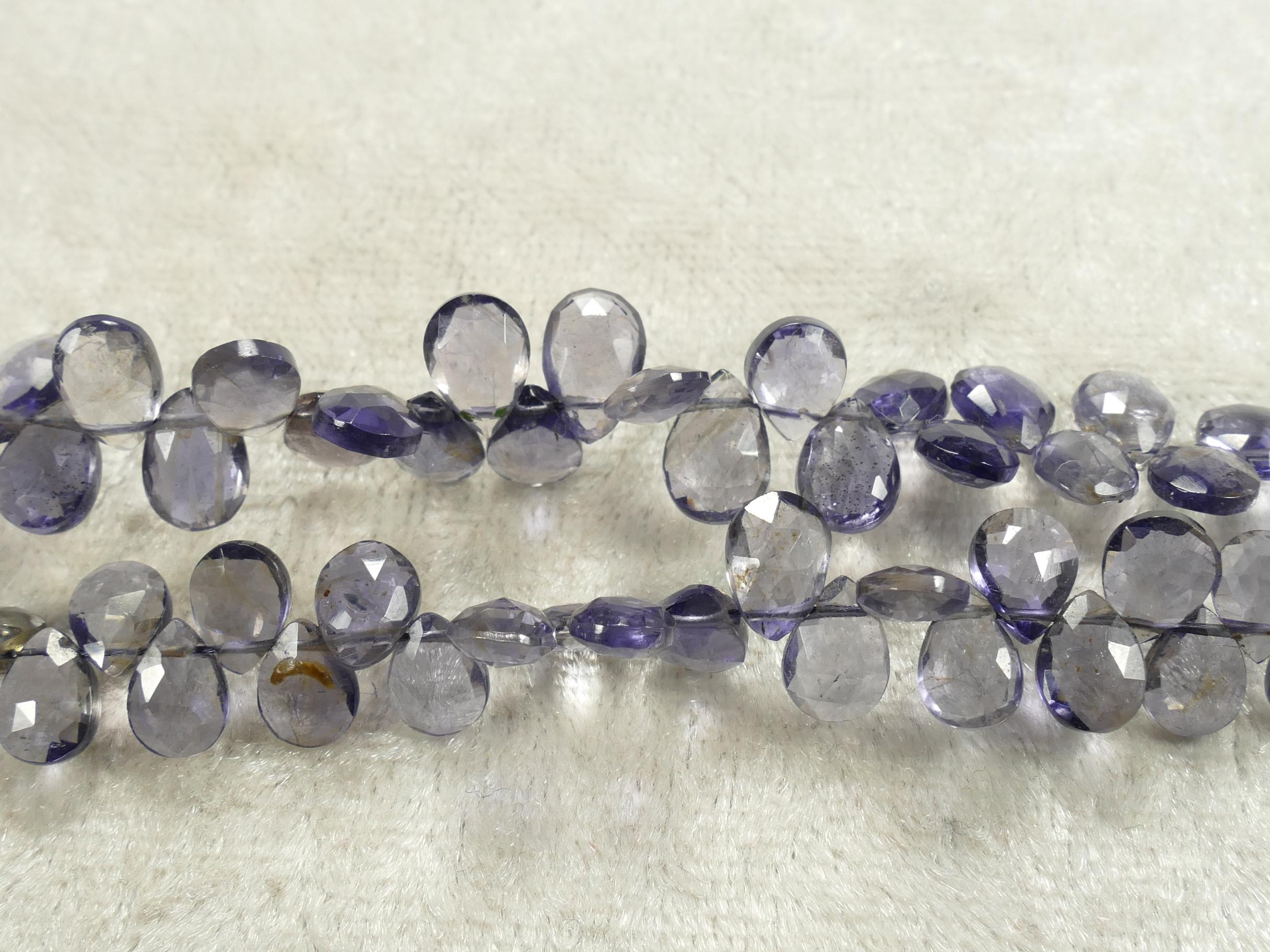 AA/AAA x10pc Très jolies perles d\'Iolite naturelle en goutte facettée d\'Inde, Cordiérite (#AC914)