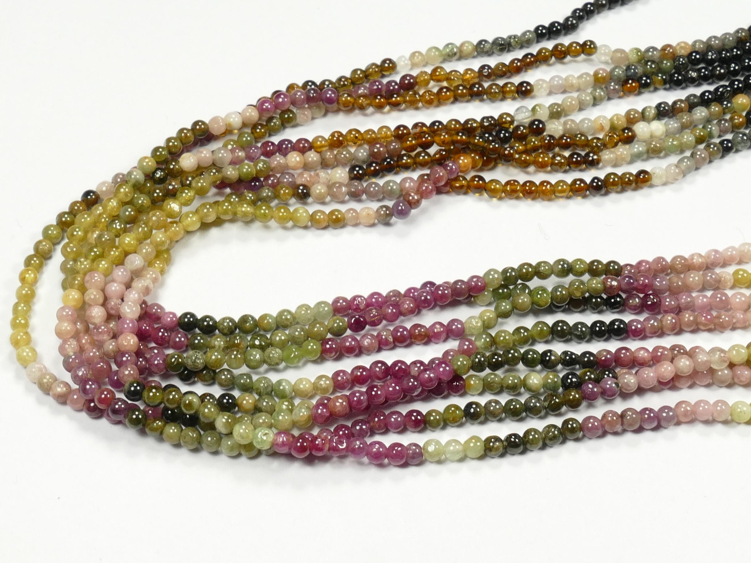 2.7mm Fil de petites perles de Tourmaline naturelle multicolore en boule lisse 36cm (14.1inch) (#AC859)