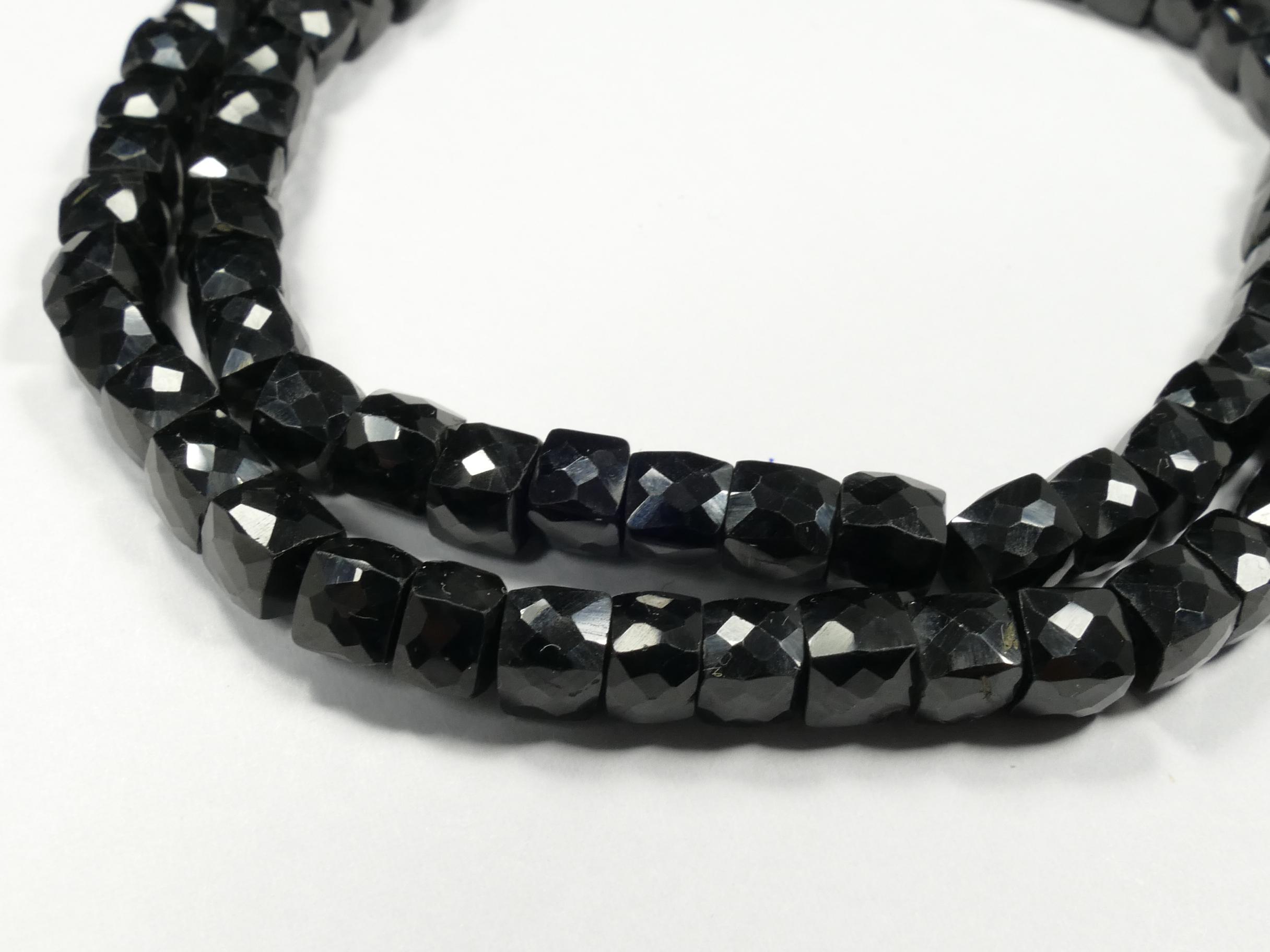 4.2/5.7mm x10 Perles de Spinelle noir naturel en cube facettée (#AC829)