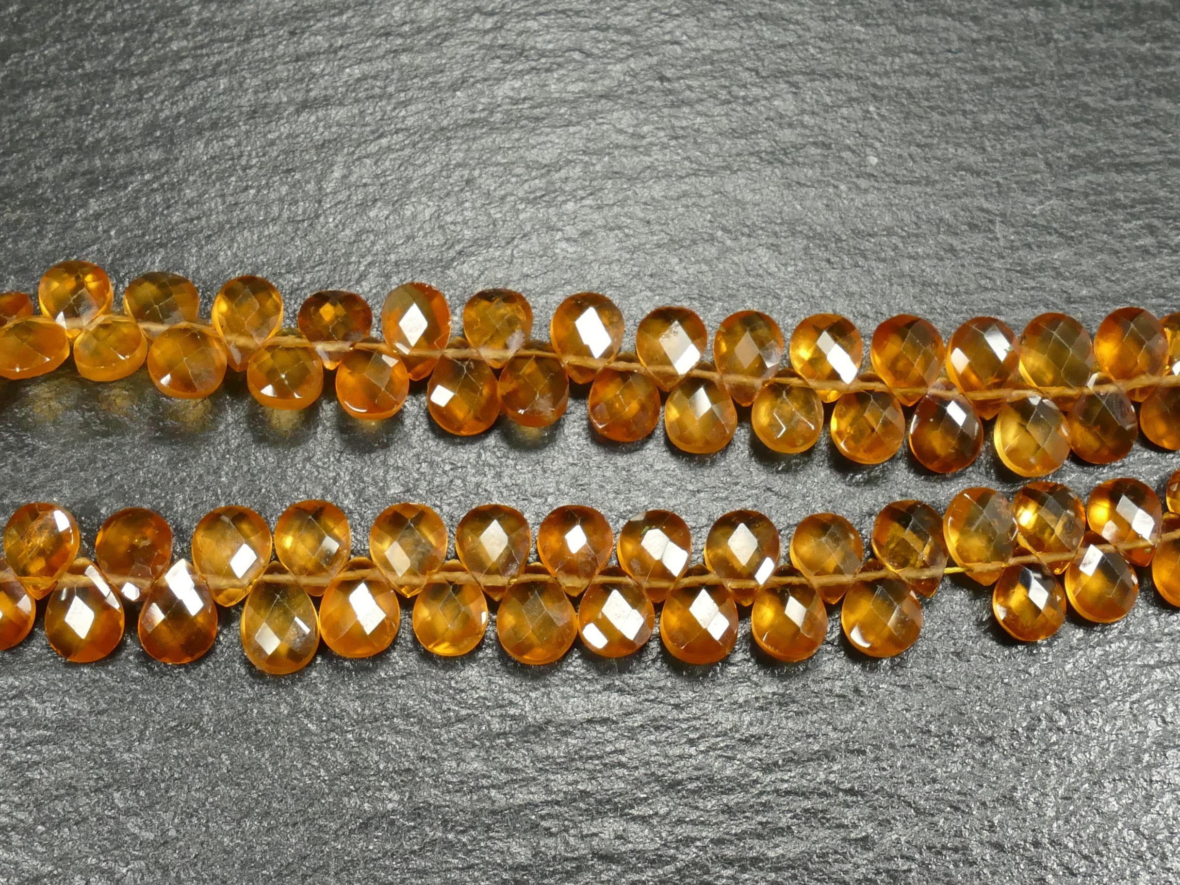 6x4.5mm x6 Perles de Grenat Spessartite naturel orangé en goutte plate facettée d\'Afrique (#AC841)