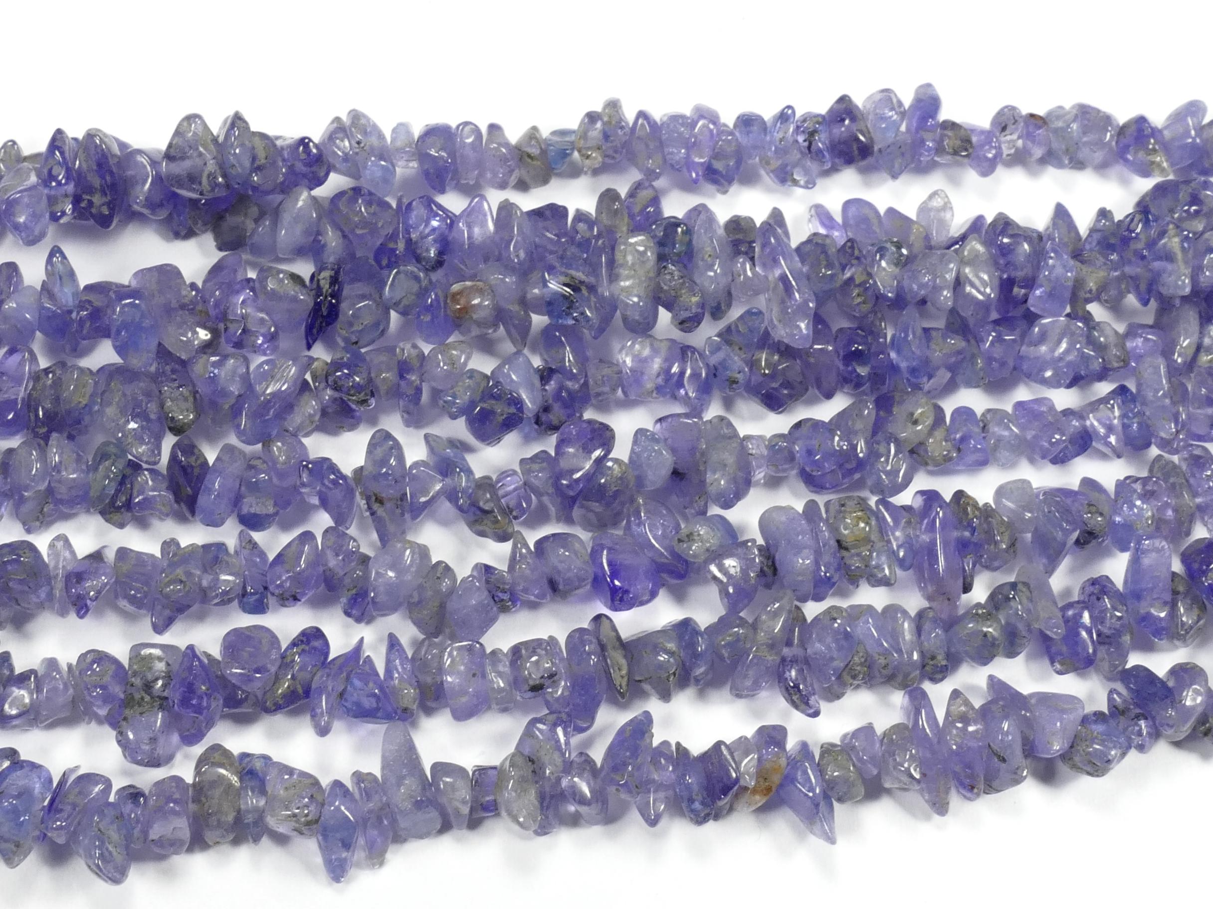 4/8mm x86cm (33.8inch) Perles de Tanzanite naturelle chips de Tanzanie brut roulé (#AC884)