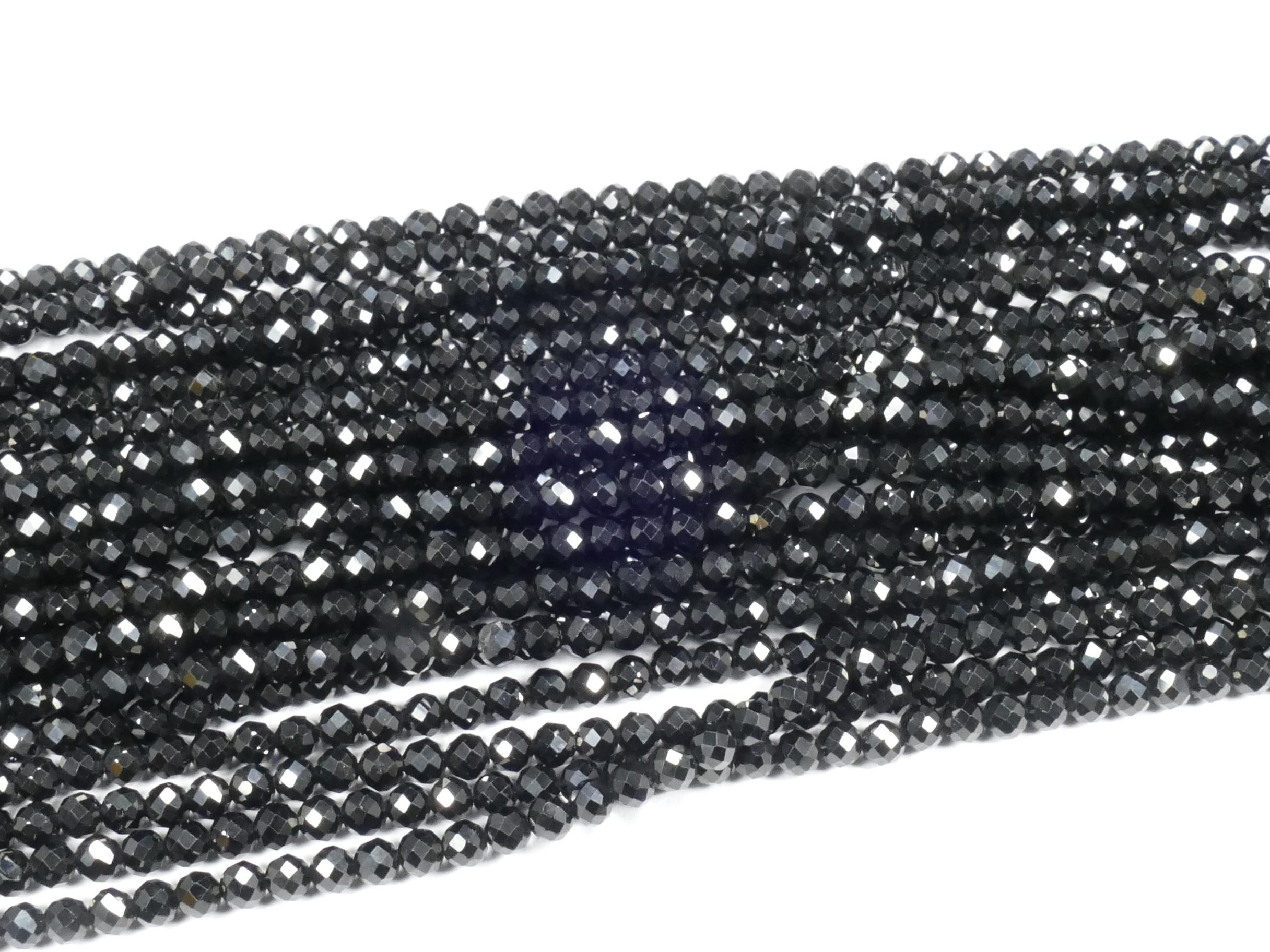 3.2mm AAA x31cm (12.2inch) Fil de perles de Spinelle noir naturel en boule facettée (#AC875)