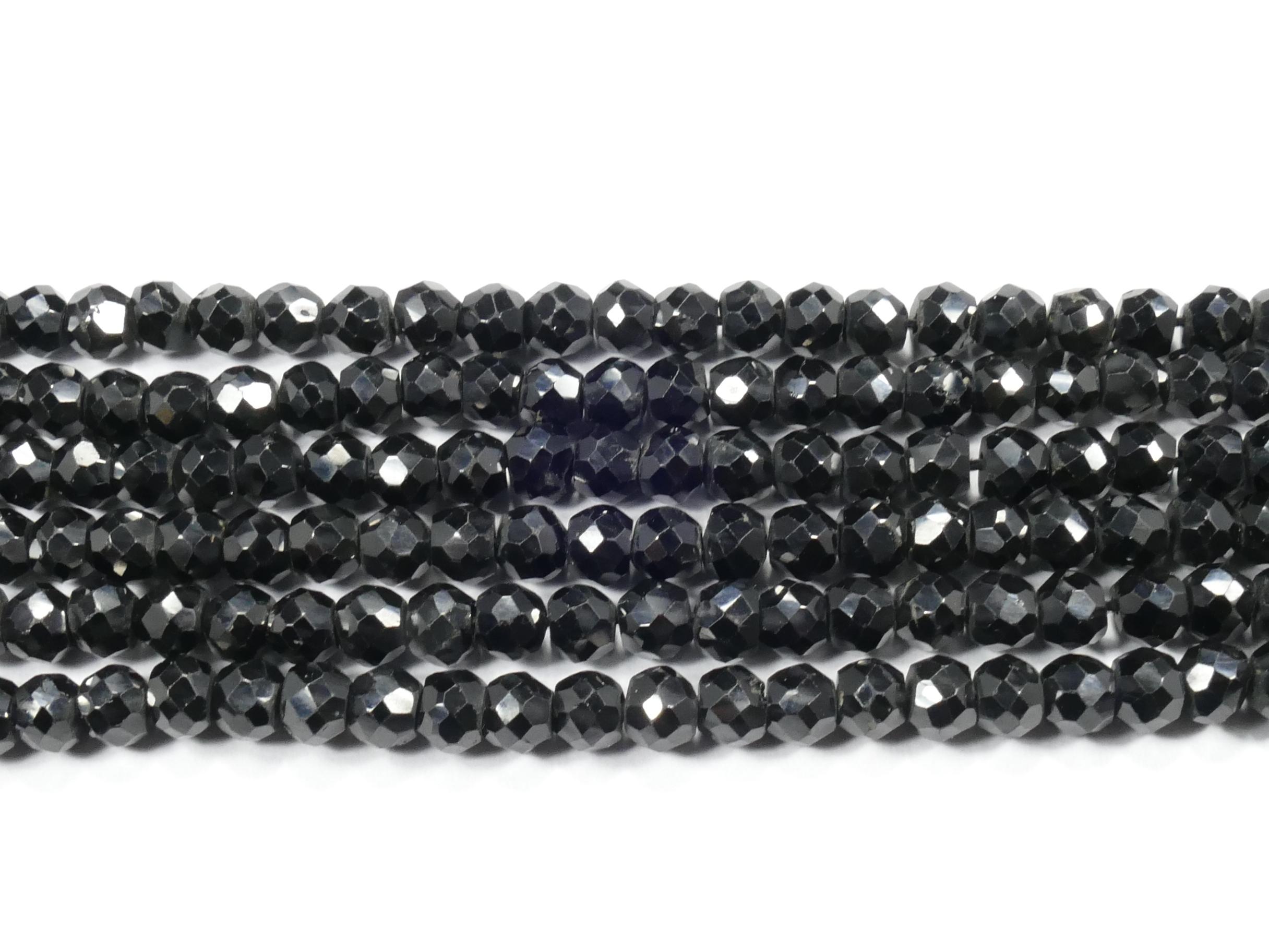 4/4.3mm A/AA Perles de Spinelle noir naturel en rondelle facettée x16cm (6.2inch) (#AC876)