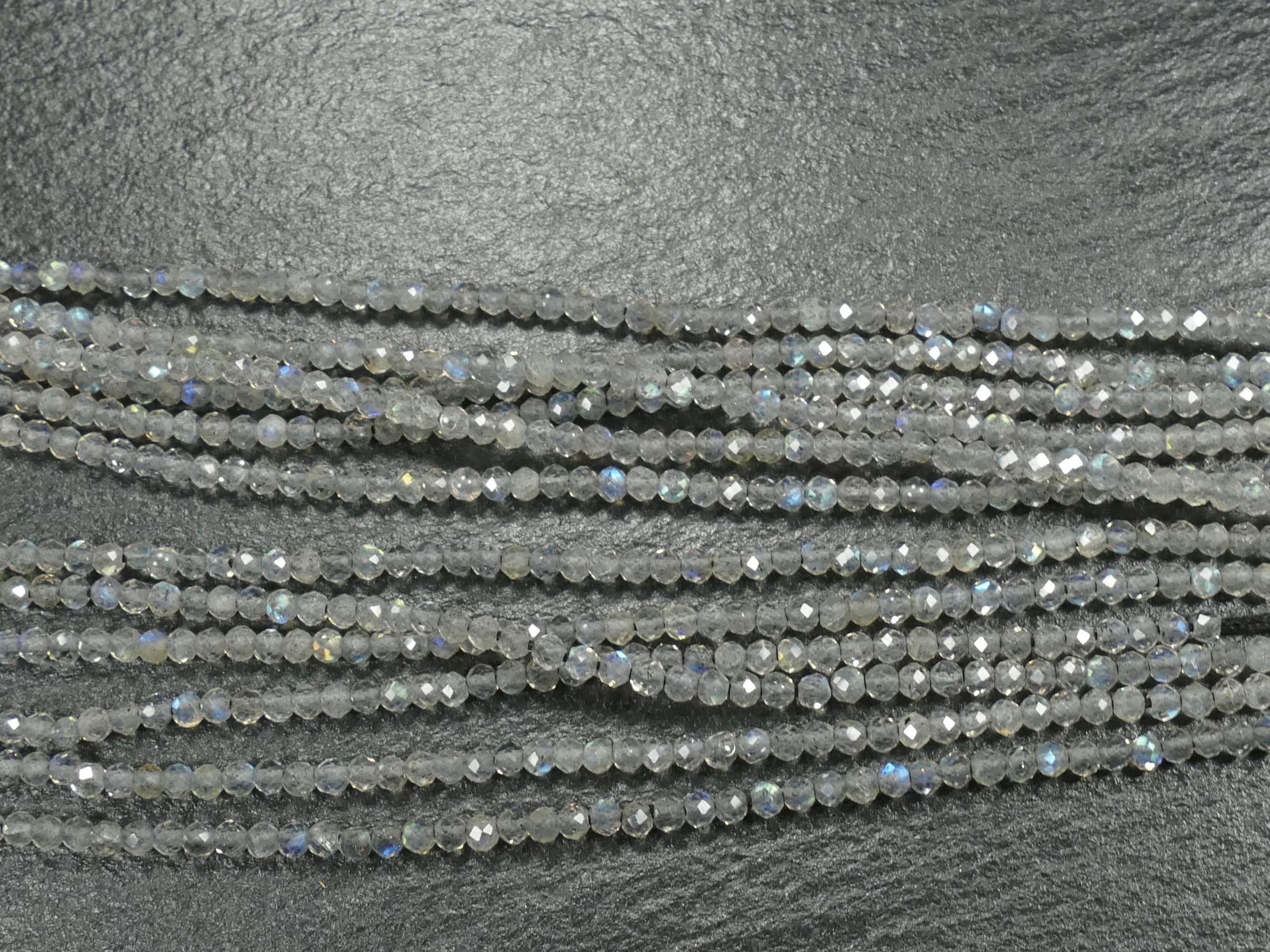 2mm AAA/AAA+ Labradorite naturelle en petite perle rondelle facetté Madagascar fil x15cm (5.9inch) (#AC853)