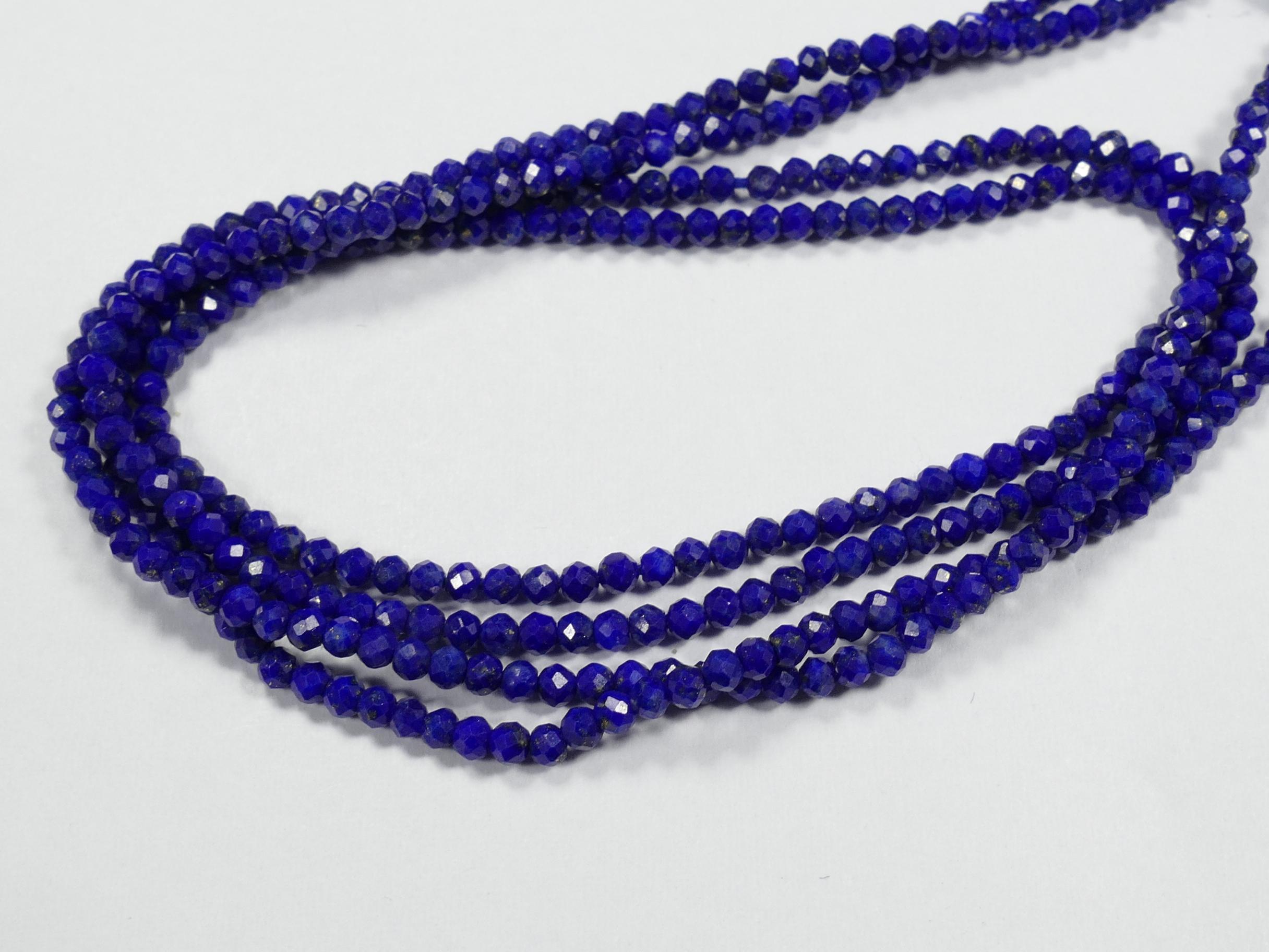 2/2.2mm AA/AAA Petite perle Lapis lazuli entièrement naturel en rondelle/ronde facettée Afghanistan x16cm (6.2inch) (#AC872)