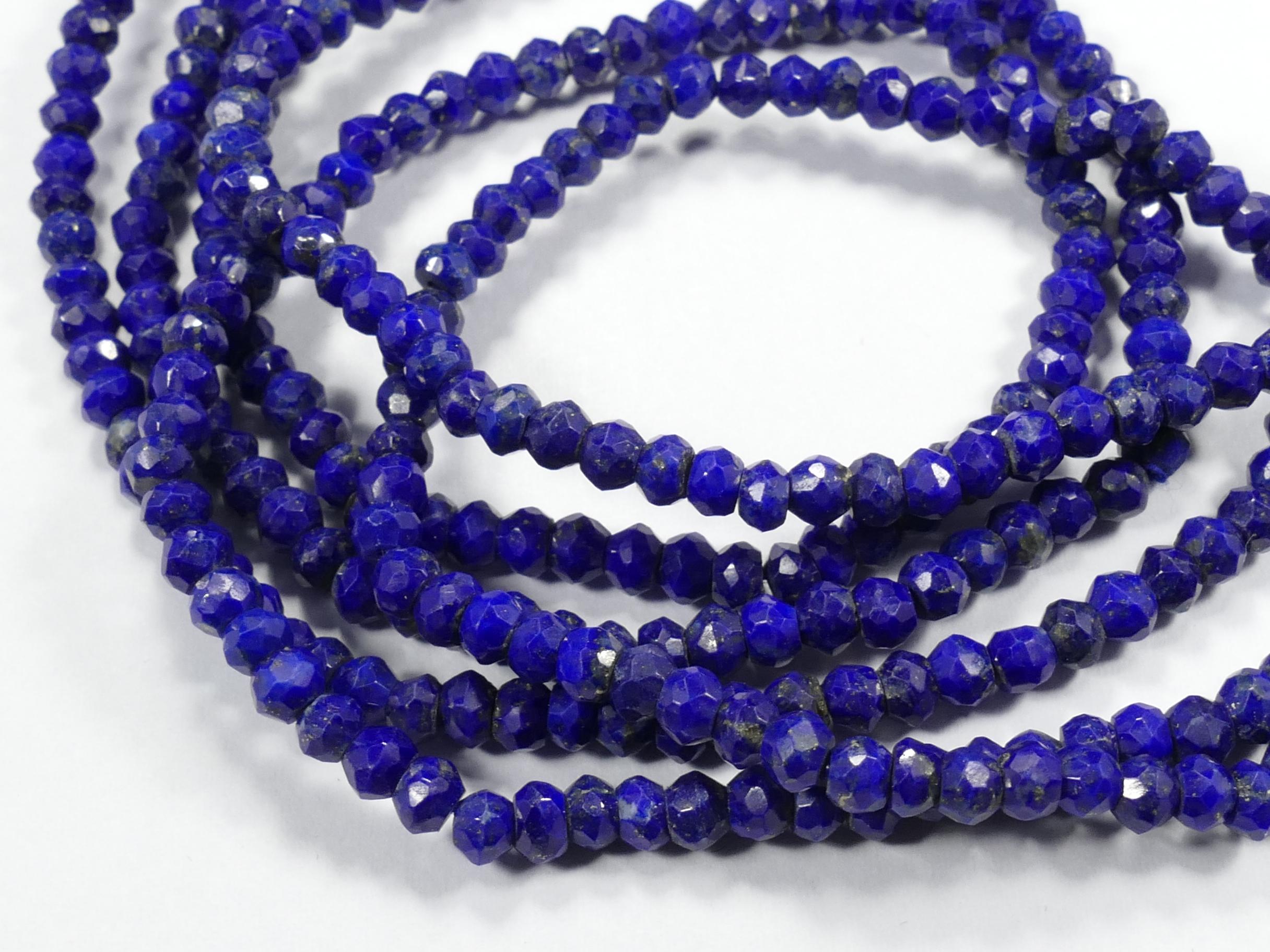 3.8/4mm Perles Lapis lazuli entièrement naturelle rondelle facettée Afghanistan x10cm (3.9inch) (#AC886)