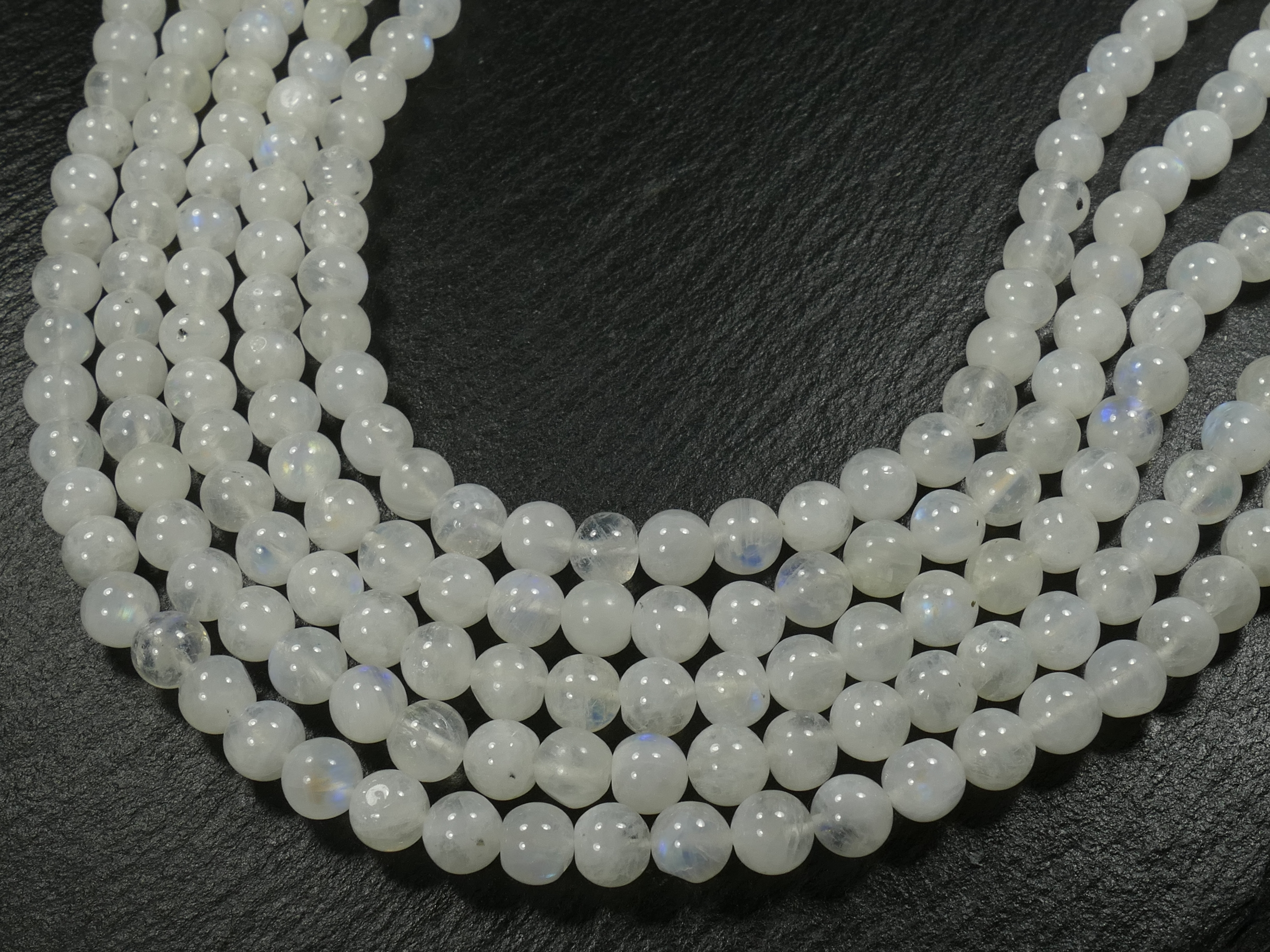 6.6mm Fil de Perles de Pierre de lune naturelle arc-en-ciel ronde lisse d\'Inde x30cm (11.8inch) (#AC851)