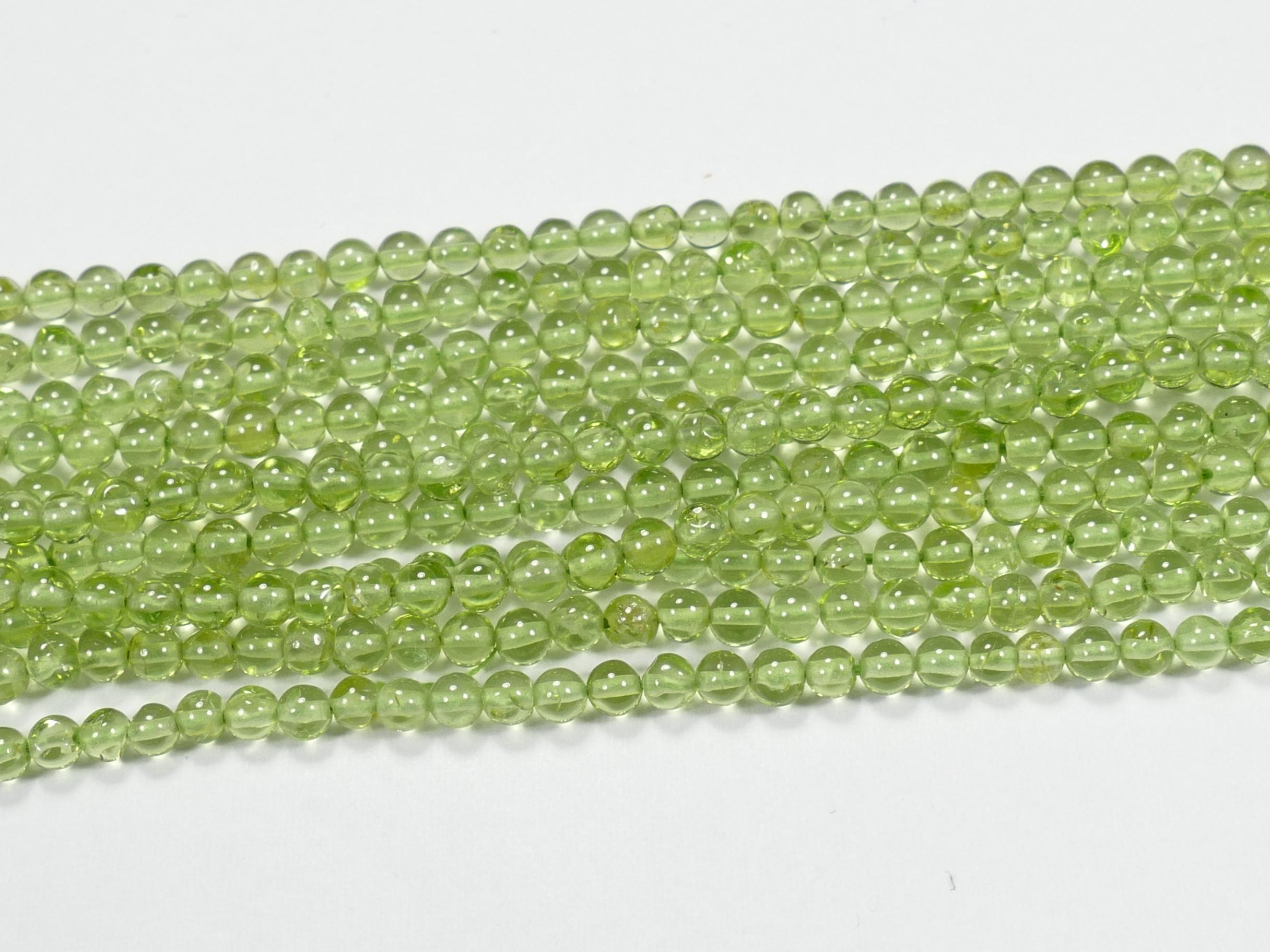 2.7/3mm Perles de Péridot naturel ronde lisse boule x33cm (13inch) (#AC895)