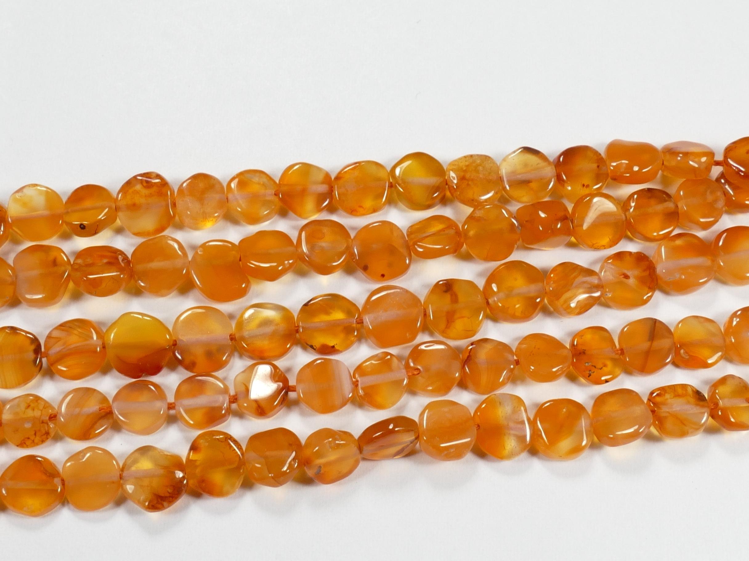 6mm X2 Fils de perle de Cornaline (Agate) naturelle en palet rond irrégulier d\'Inde x35cm (13.7inch) (#AC823)