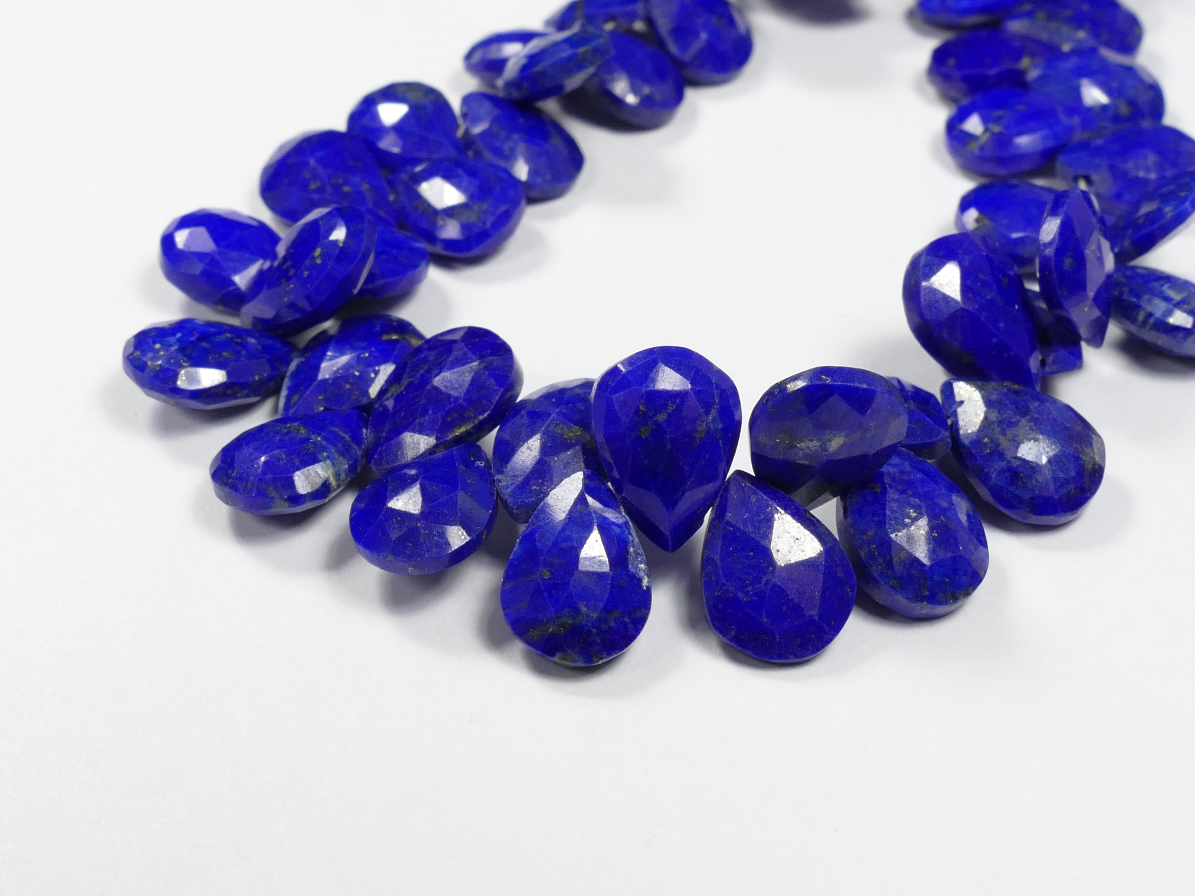 A/AA x6pc Perles Lapis lazuli entièrement naturelle goutte plate facettée Afghanistan (#AC826)