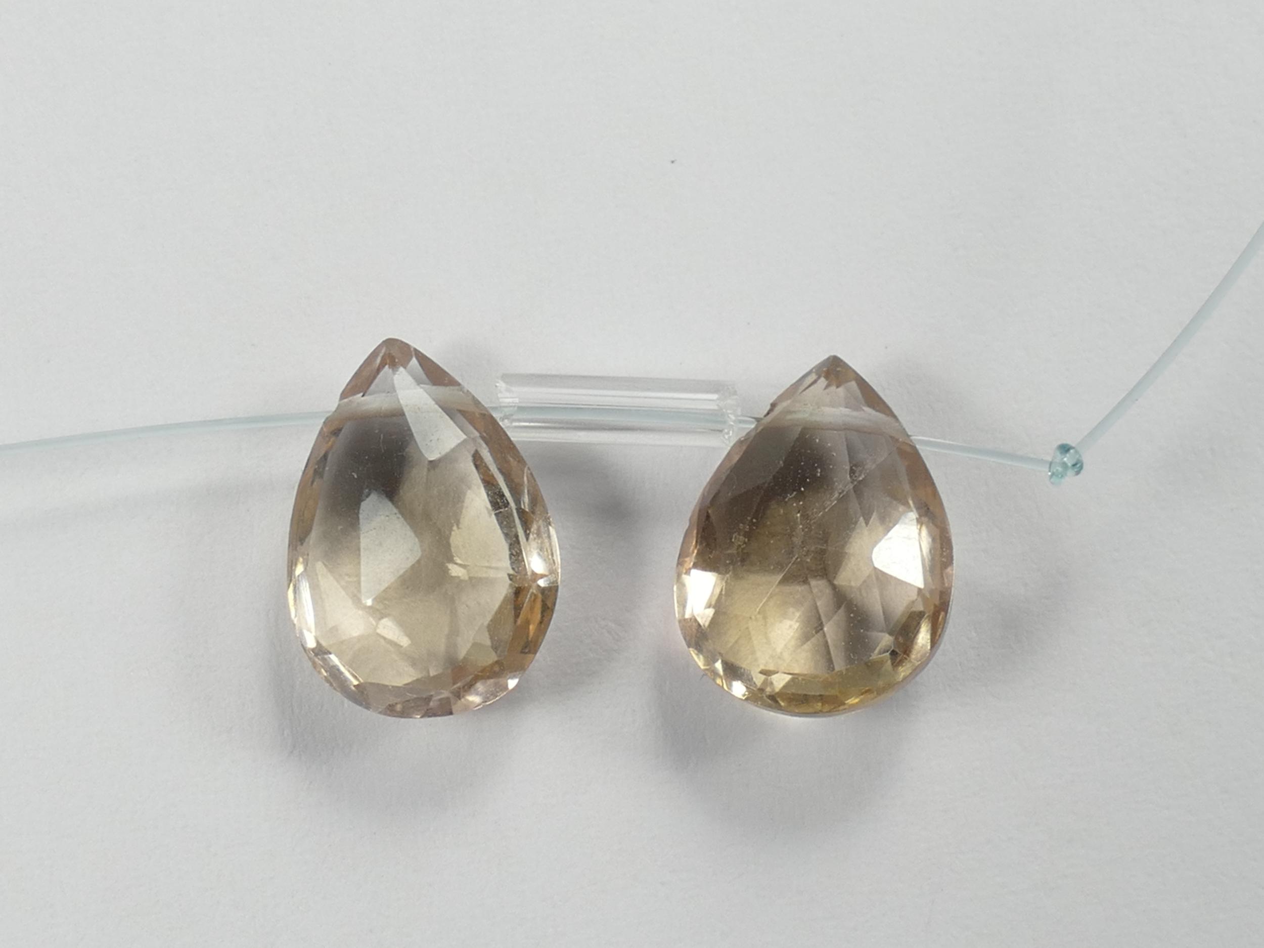 Lot 2 Perles d\'Amétrine AA/AAA naturelle en goutte facettée percée Bolivie Top qualité (#PK152)