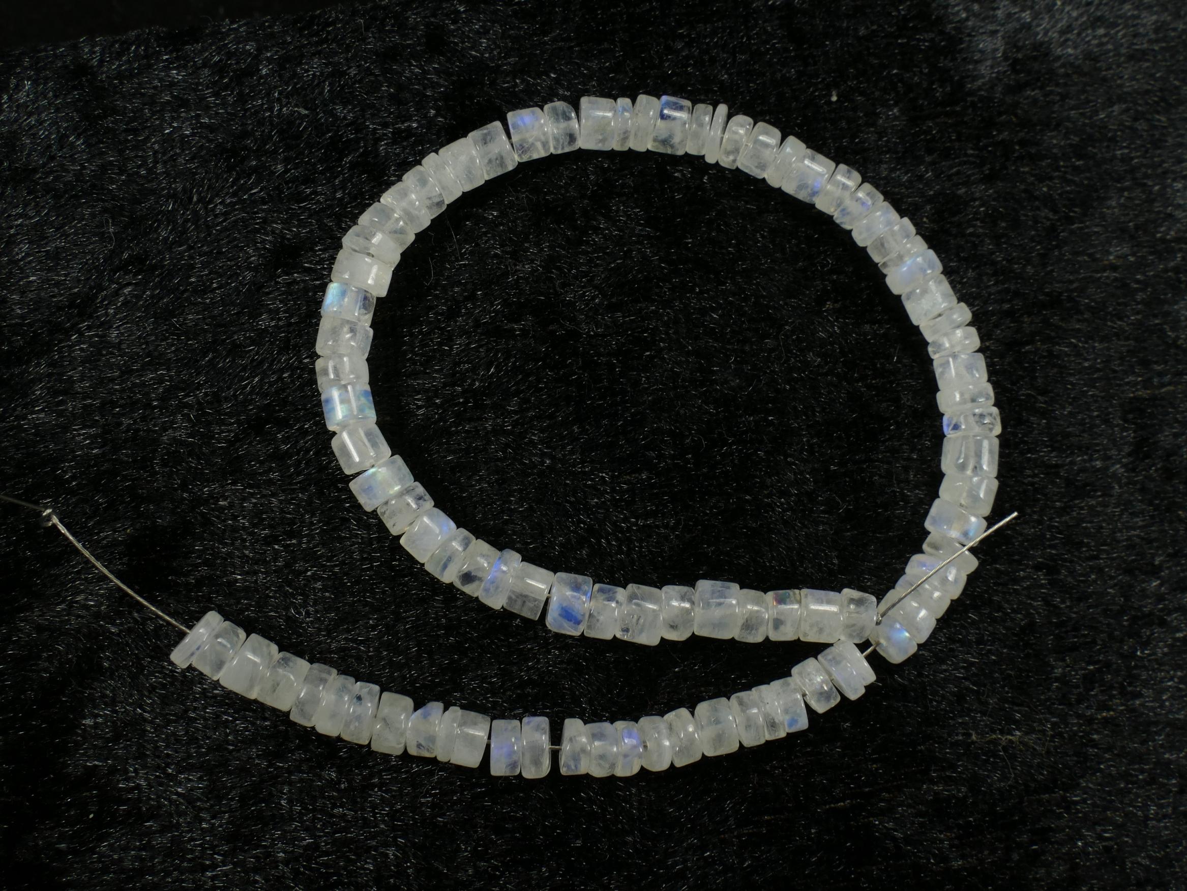 21cm 4.3/5mm Lot de perles de Pierre de lune blanche arc-en-ciel naturelle tube/rondelle  (#PK374)