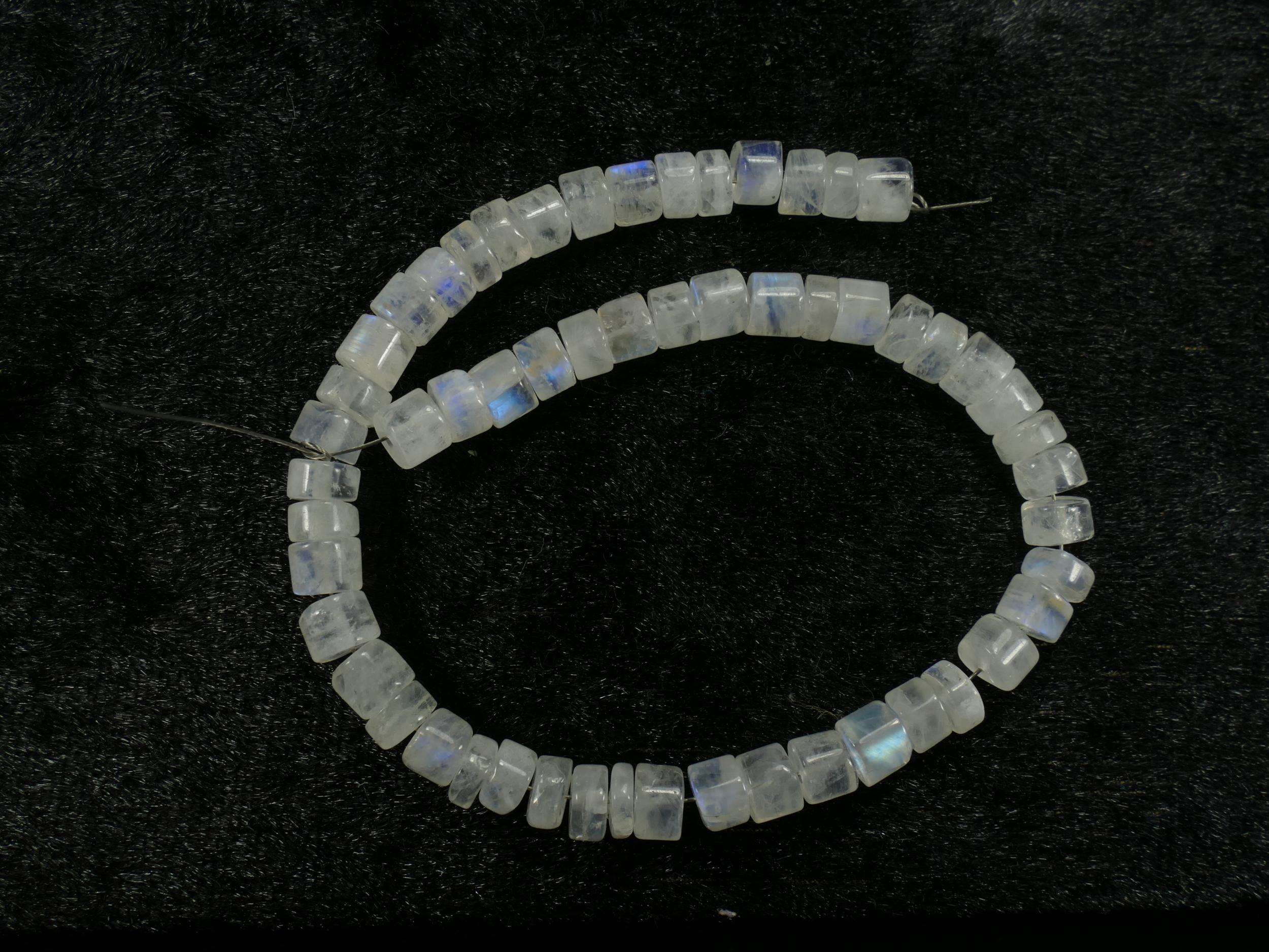 20.5cm 5.4/6mm Lot de perles de Pierre de lune blanche arc-en-ciel naturelle tube/rondelle (#PK376)