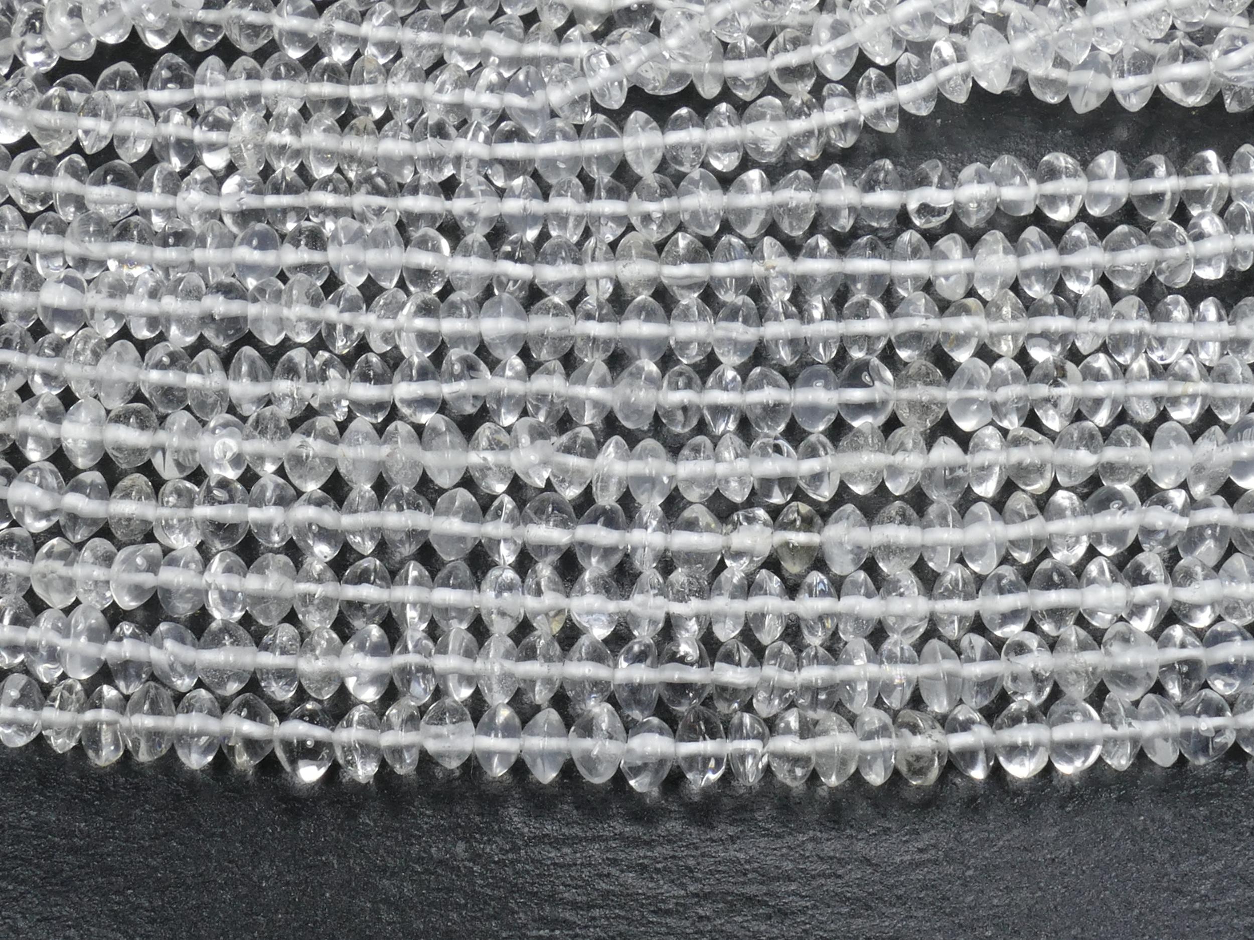4.6/5.4mm Perles de Cristal de roche Quartz naturel rondelle lisse irrégulière x35cm (13.7inch) (#AC993)