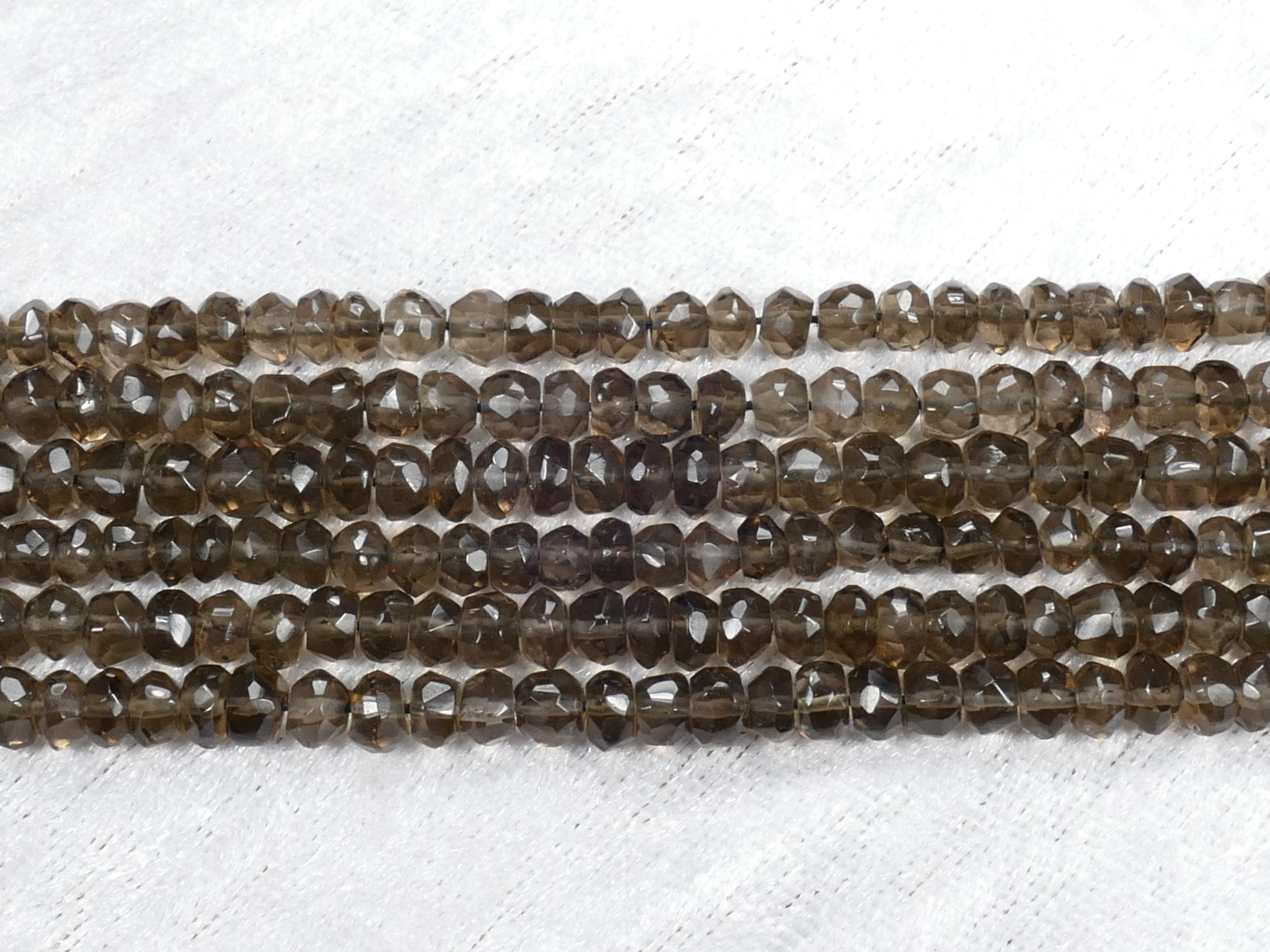 4.4/5mm AAA/AAA+ Perles de Quartz fumé naturel rondelle facettée irrégulière fil x32cm (12.6inch) (#AC985