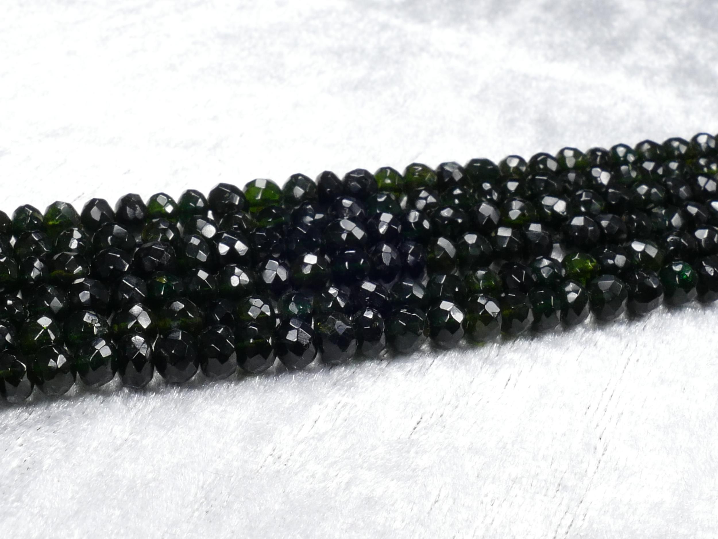 4.2/5mm Perles de Tourmaline naturelle très foncé noir en rondelle facettée x18cm (7inch) (#AC1020)