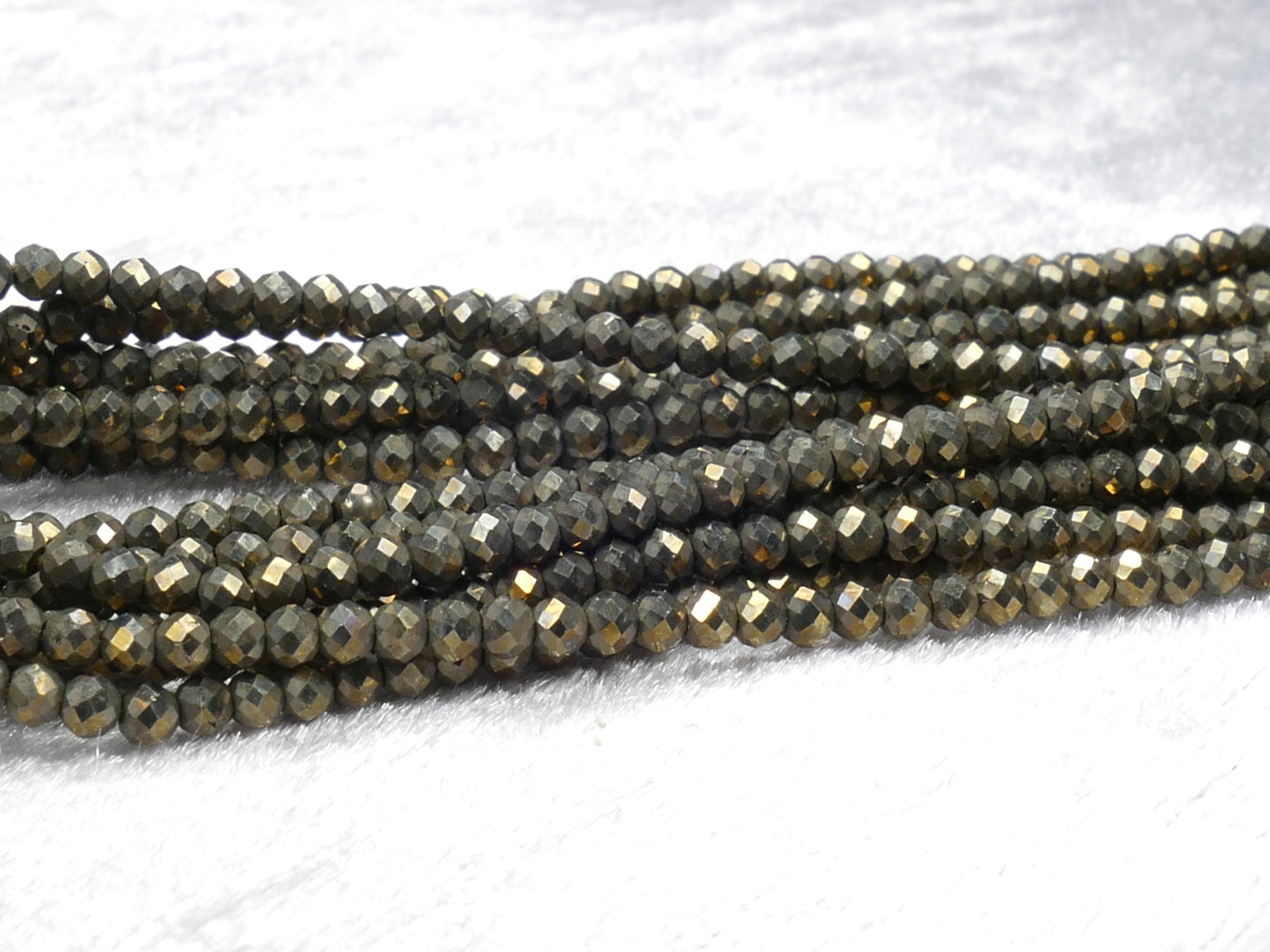 2/2.2mm AA/AAA+ Petites perles de Pyrite naturelle en boule / rondelle micro facettée x31cm (12.2inch) (#AC870)